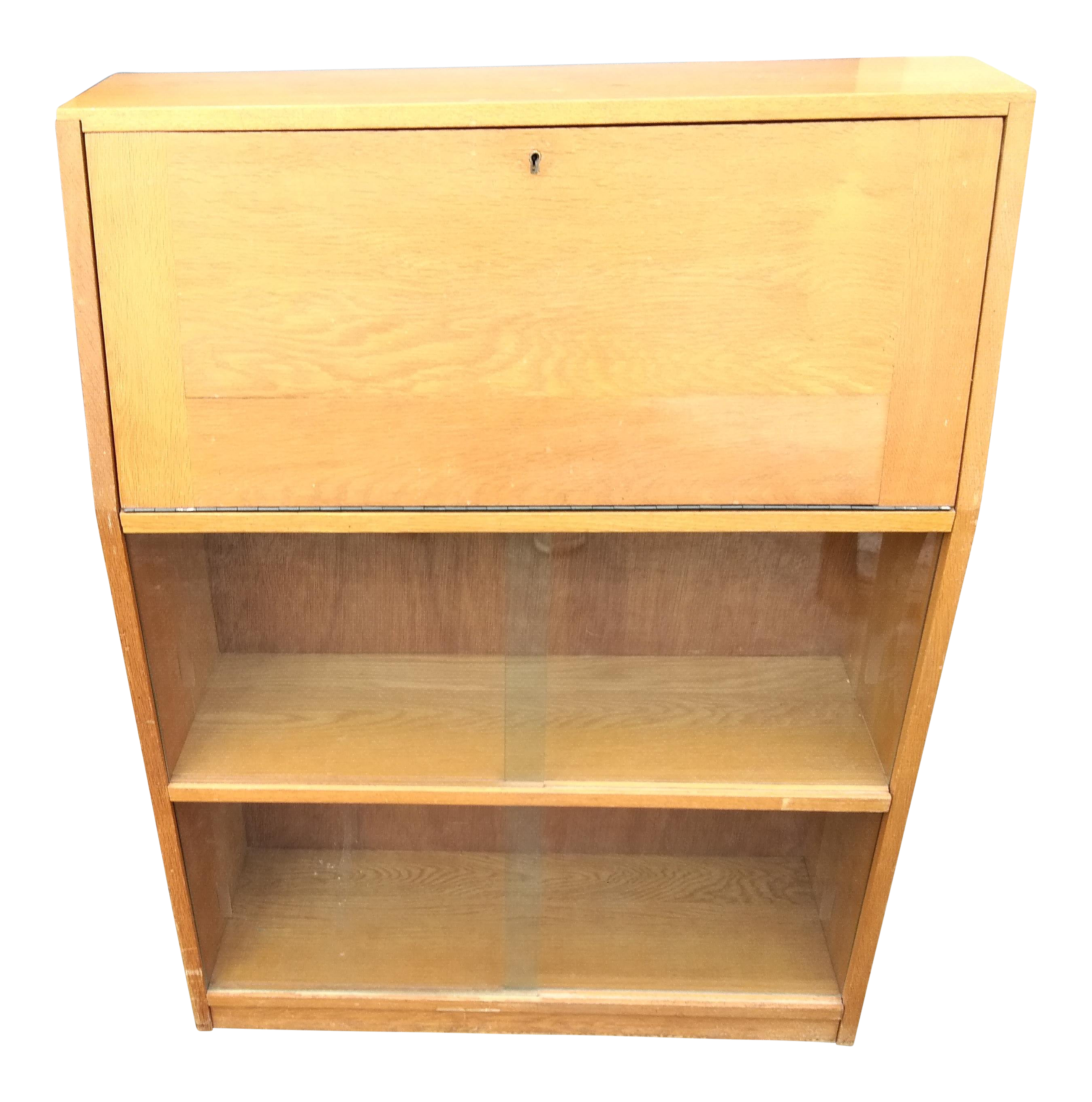 Mid Century Modern Light Yellow Secretary Bookcase