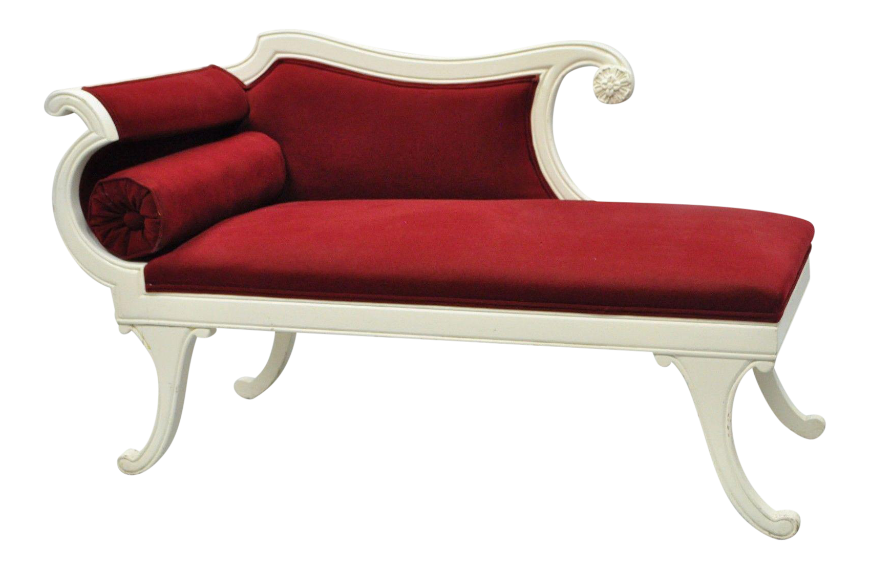 Small Vintage French Empire Style Carved Wood Red White Chaise Lounge  Fainting Couch | Chairish