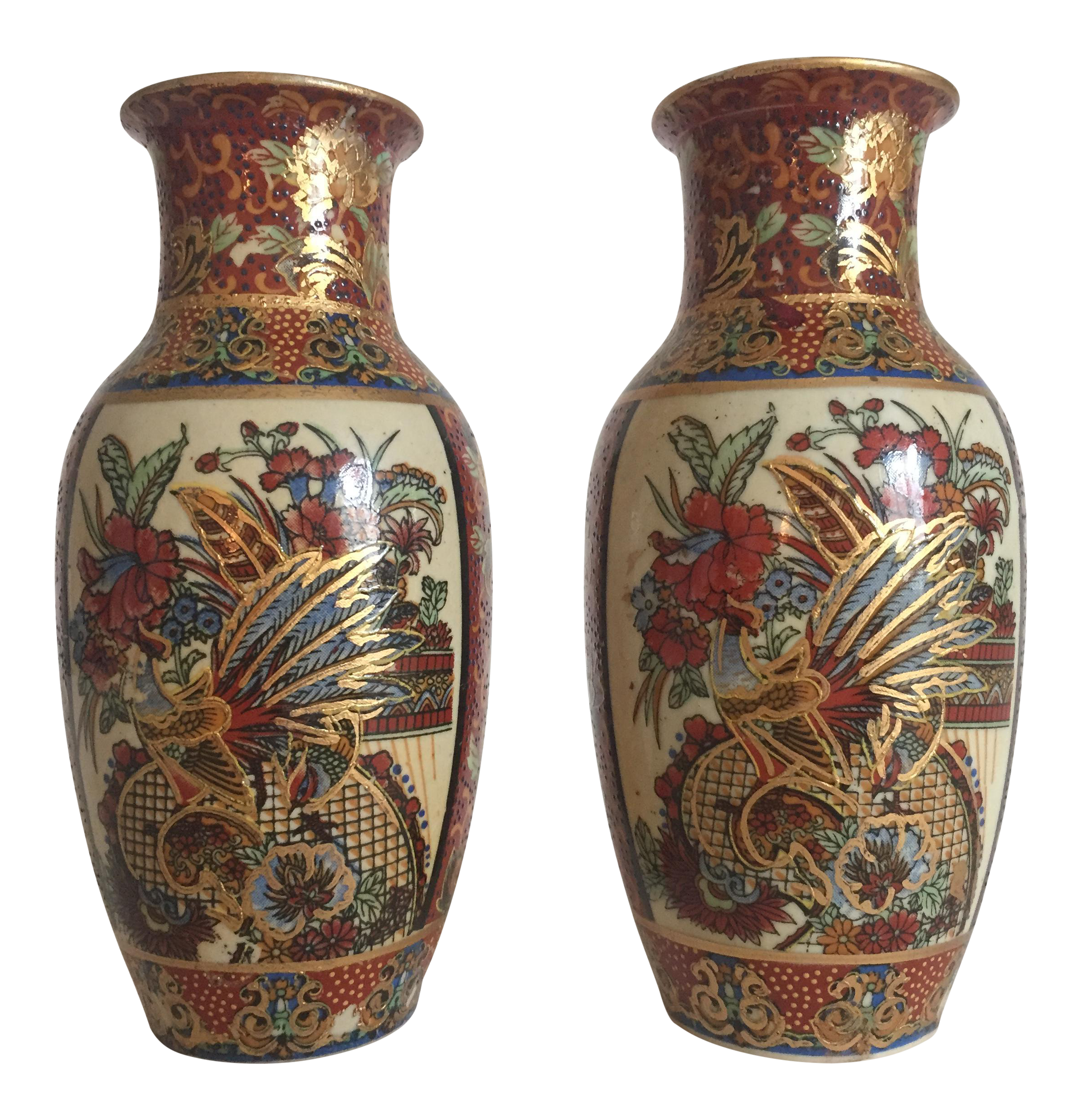 Vintage satsuma style japanese ceramic gold leaf vases a pair vintage satsuma style japanese ceramic gold leaf vases a pair chairish reviewsmspy