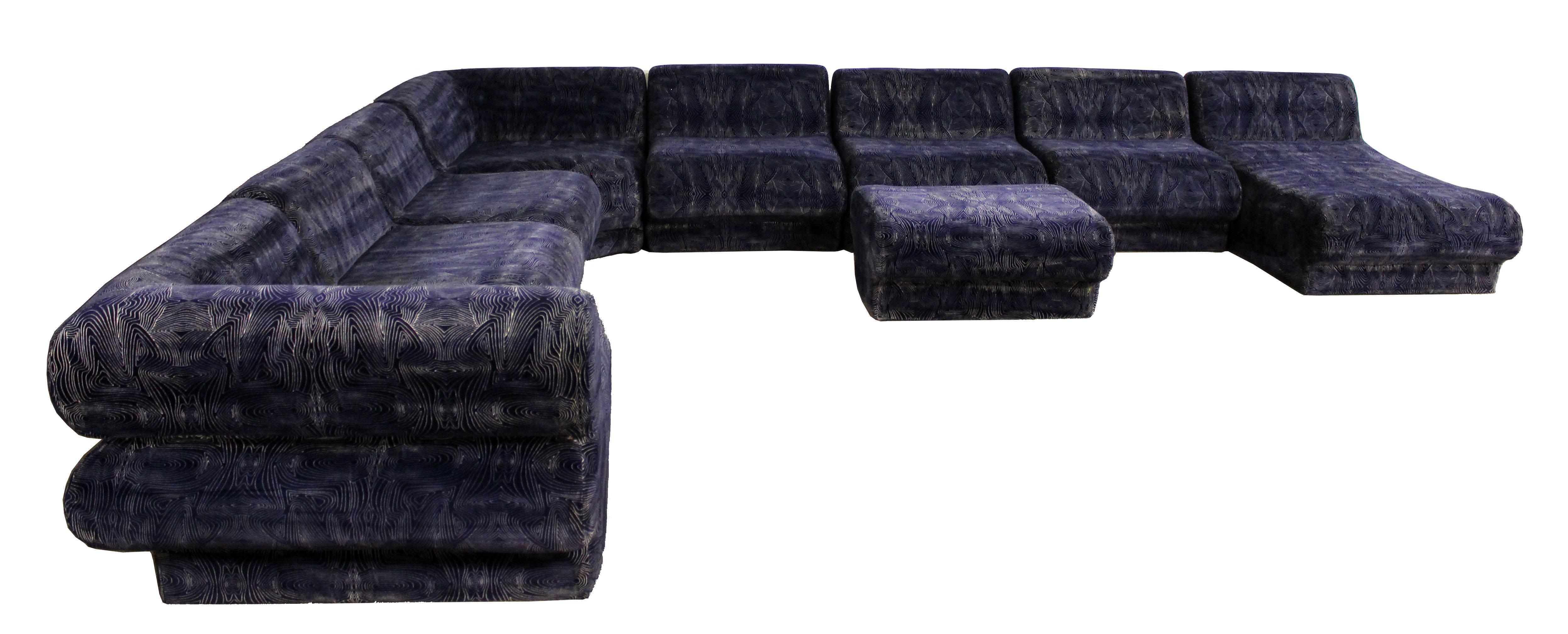 Mid Century Modern 9 Pc Modular Serpentine Blue Velvet Sectional ...