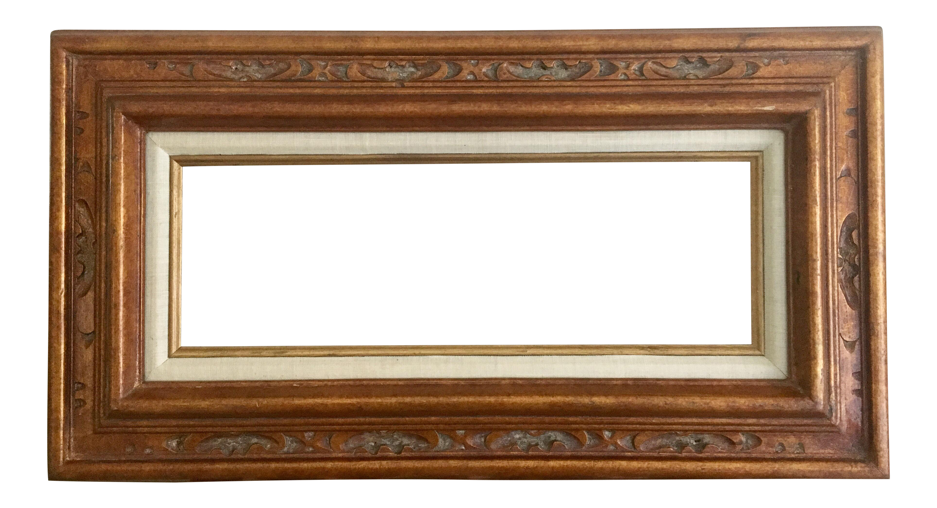 Carved Gold Frame With Linen Matting | Chairish