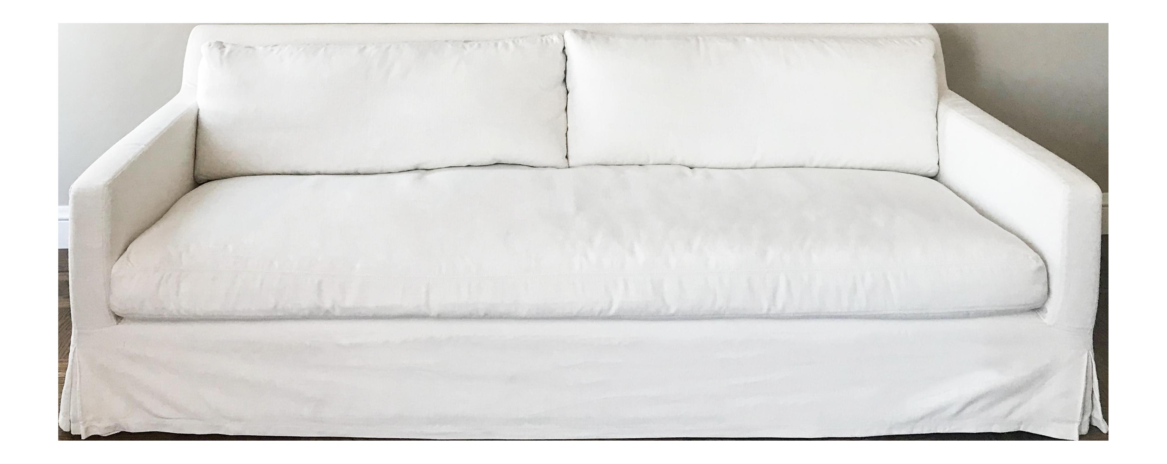 Restoration Hardware Sofa Belgian Track Arm Slipcovered 7 in White