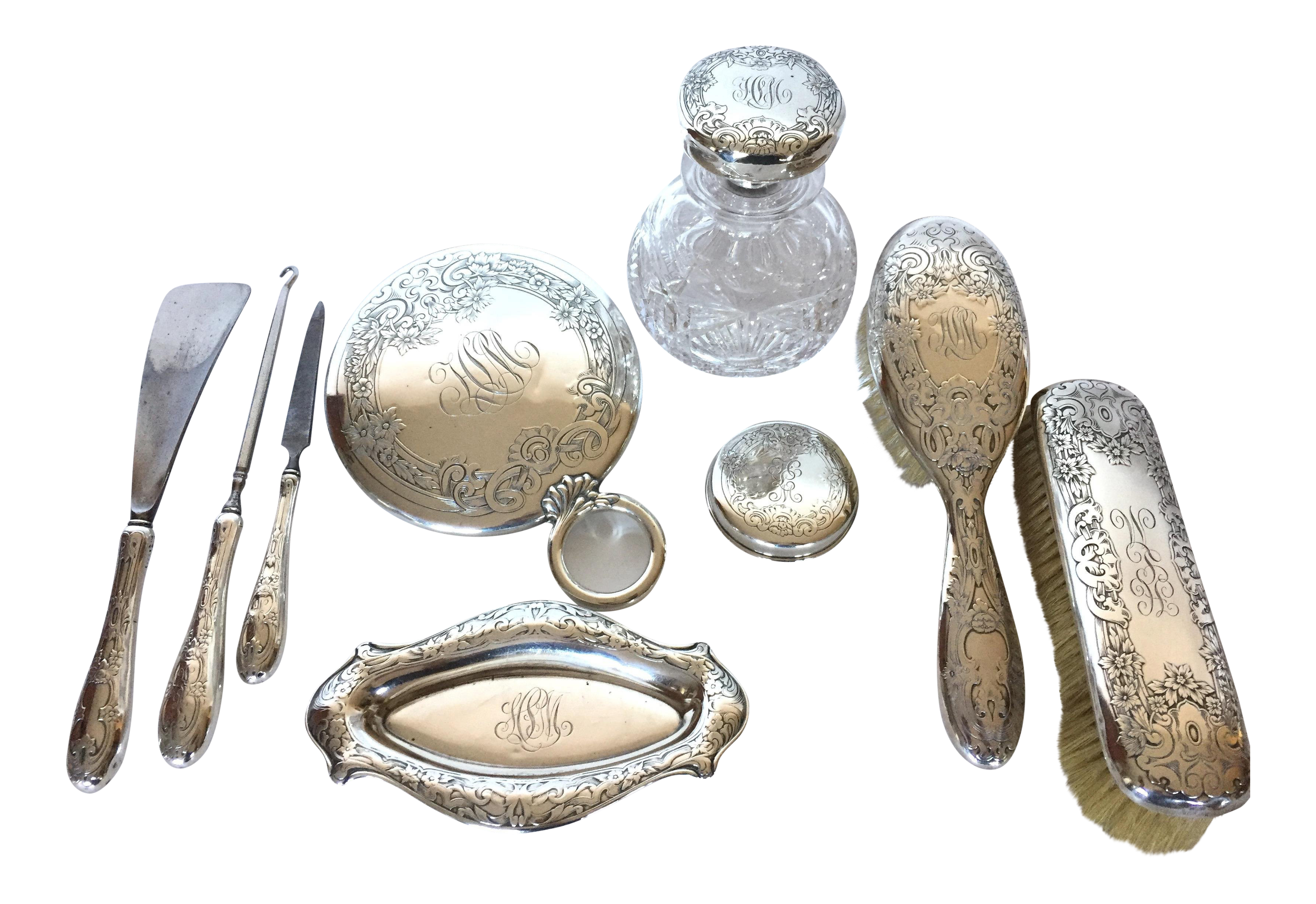 Late 19th Century Antique Sterling Silver Vanity Set By Gorham 10 Pieces Chairish