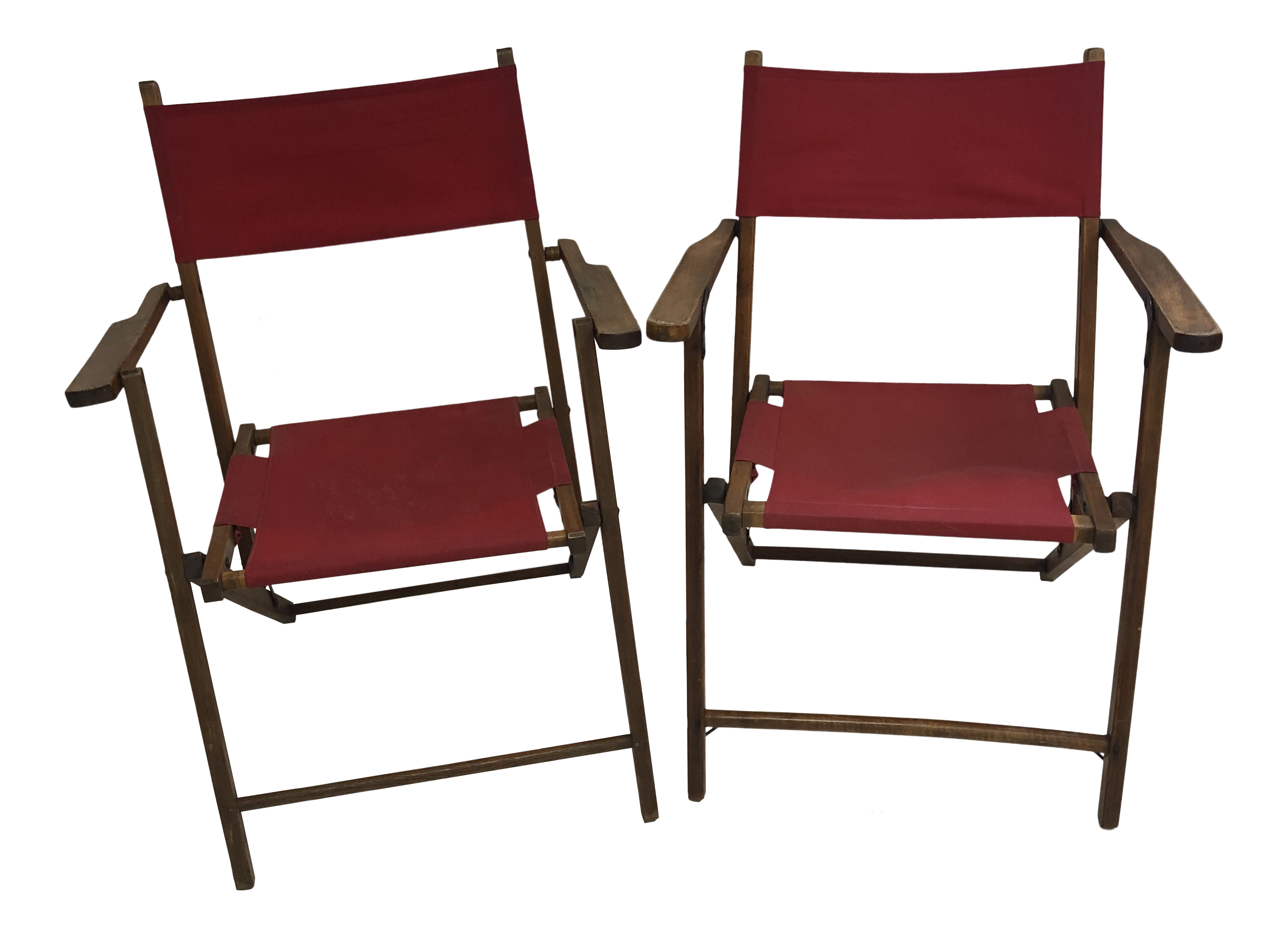 Vintage Wood Folding Chairs With Red Strapping A Pair