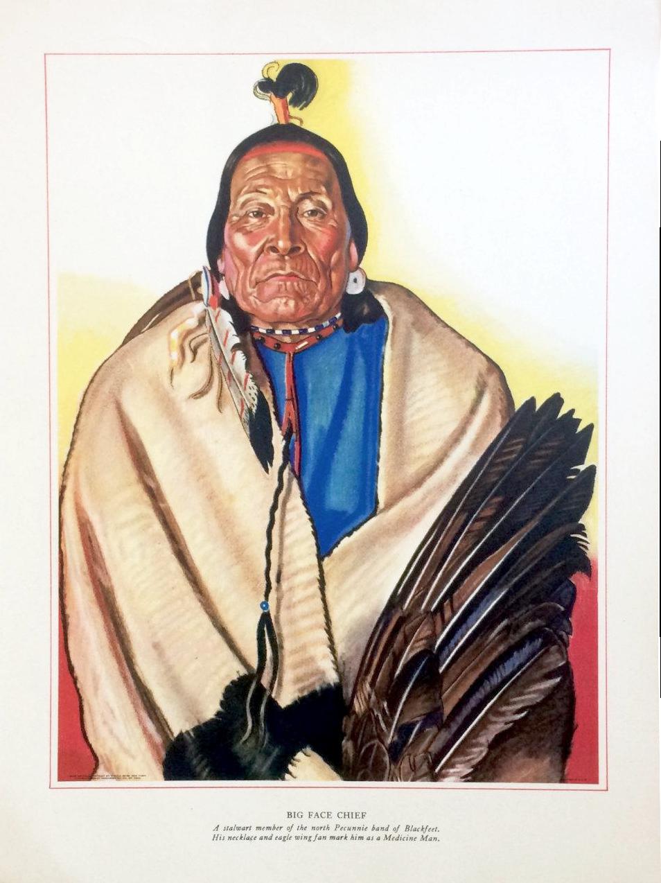 1940s Blackfoot Native American Print By Winold Reiss