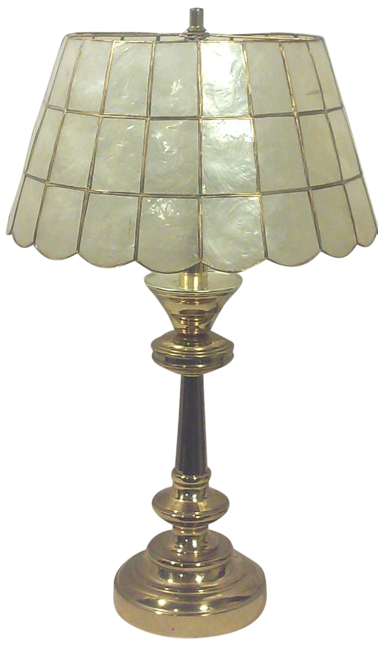 Brass table lamp with capiz shell shade chairish aloadofball Images