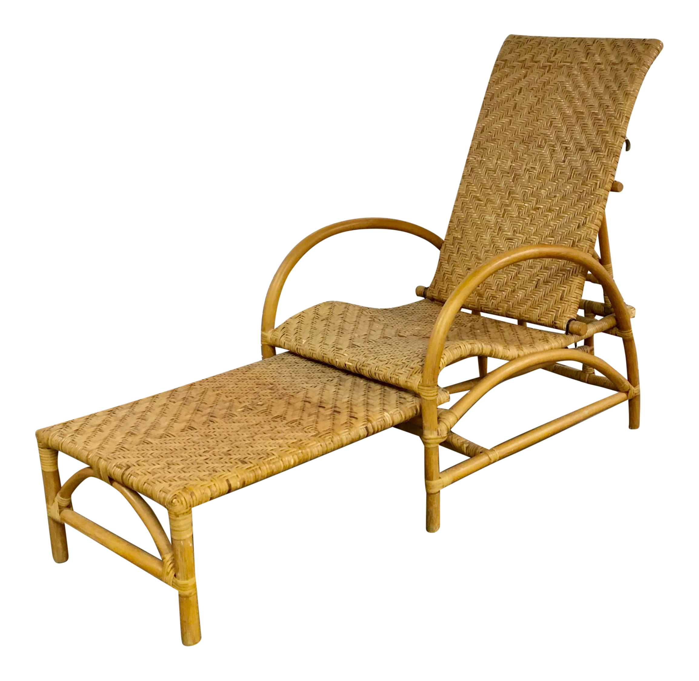 Picture of: Natural Wicker Lounge Steamer Chair With Pullout Ottoman Extendable Footrest Chairish