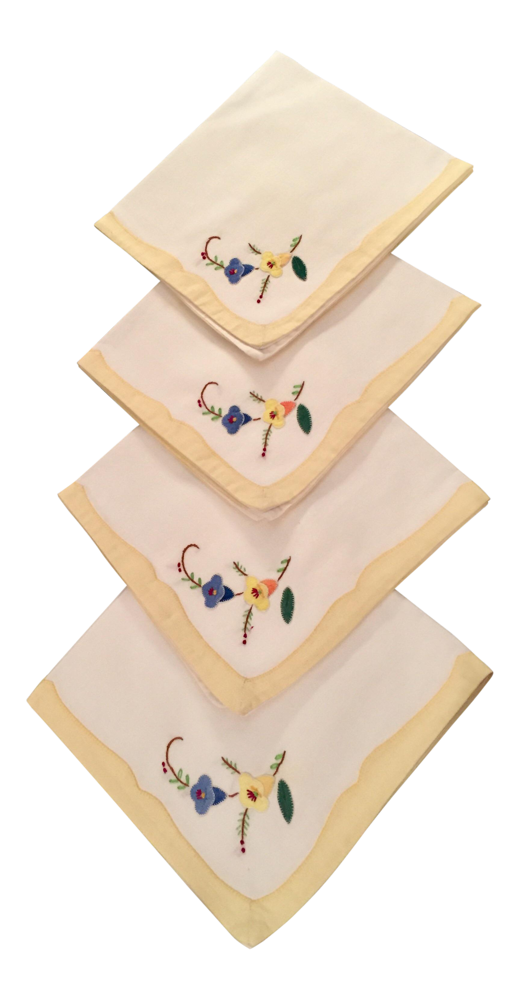 Springtime Floral Embroidered Linen Napkins Set Of 4 Chairish