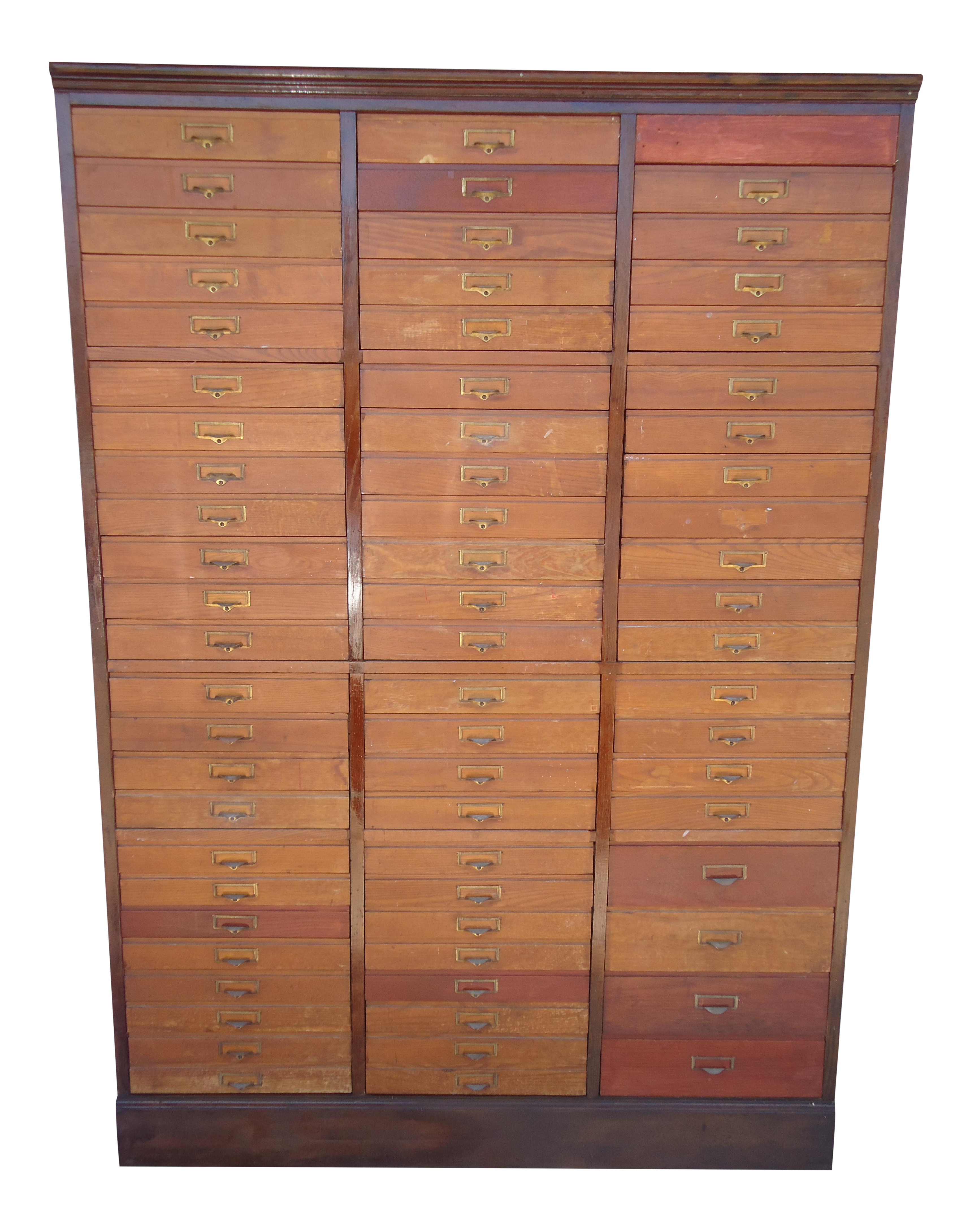pretty nice 1a7dc f3d53 20th Century Antique Oak 68 Drawer Wood File Cabinet
