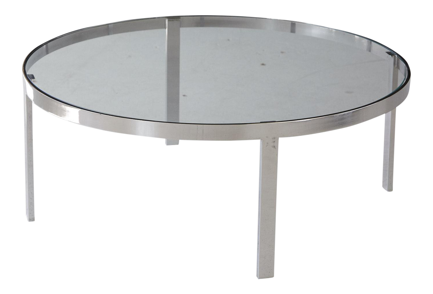 Milo Baughman Round Chrome And Glass Coffee Table