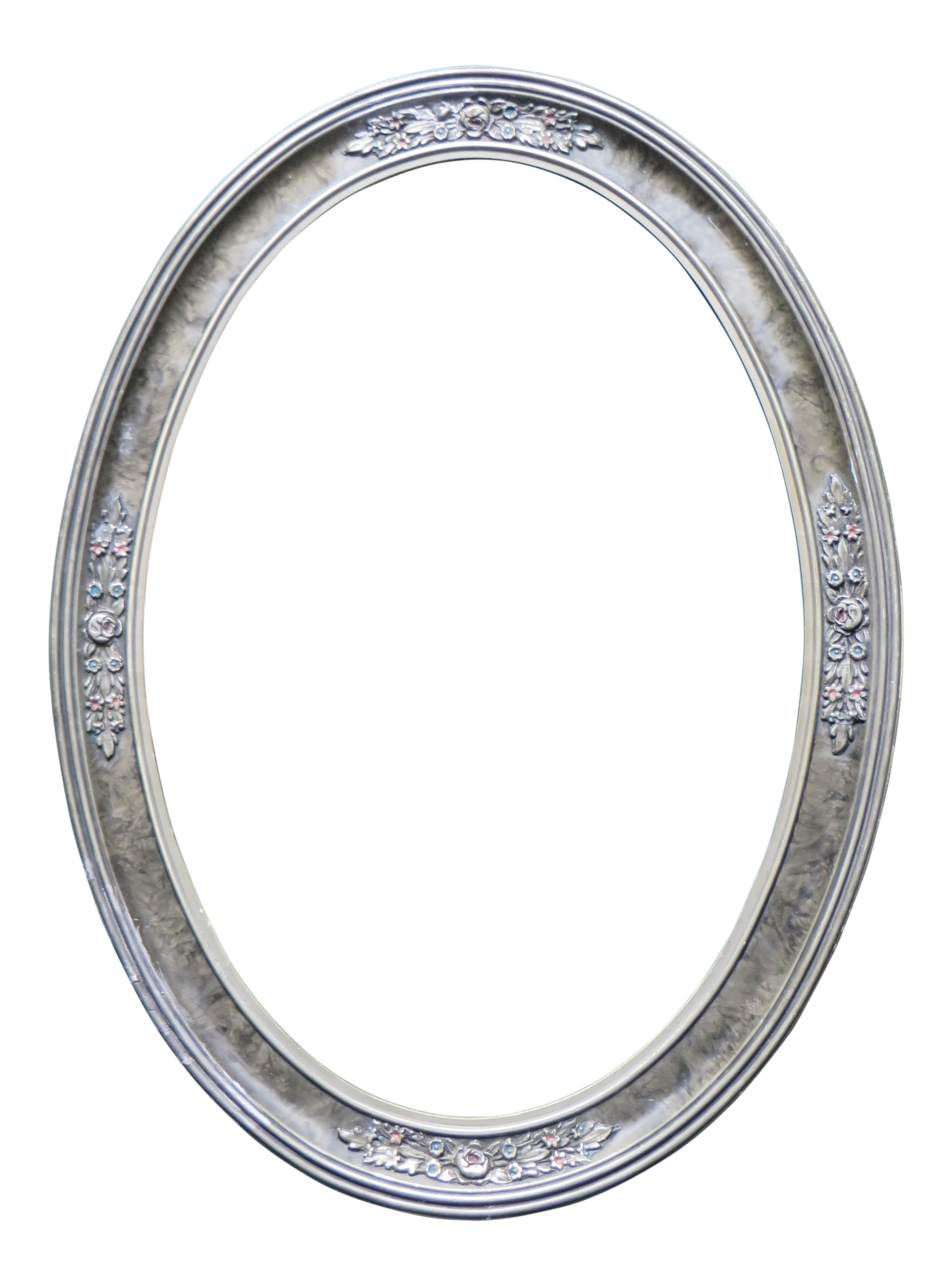Antique Oval Wood Picture Frame Silver Tone With Decorations | Chairish