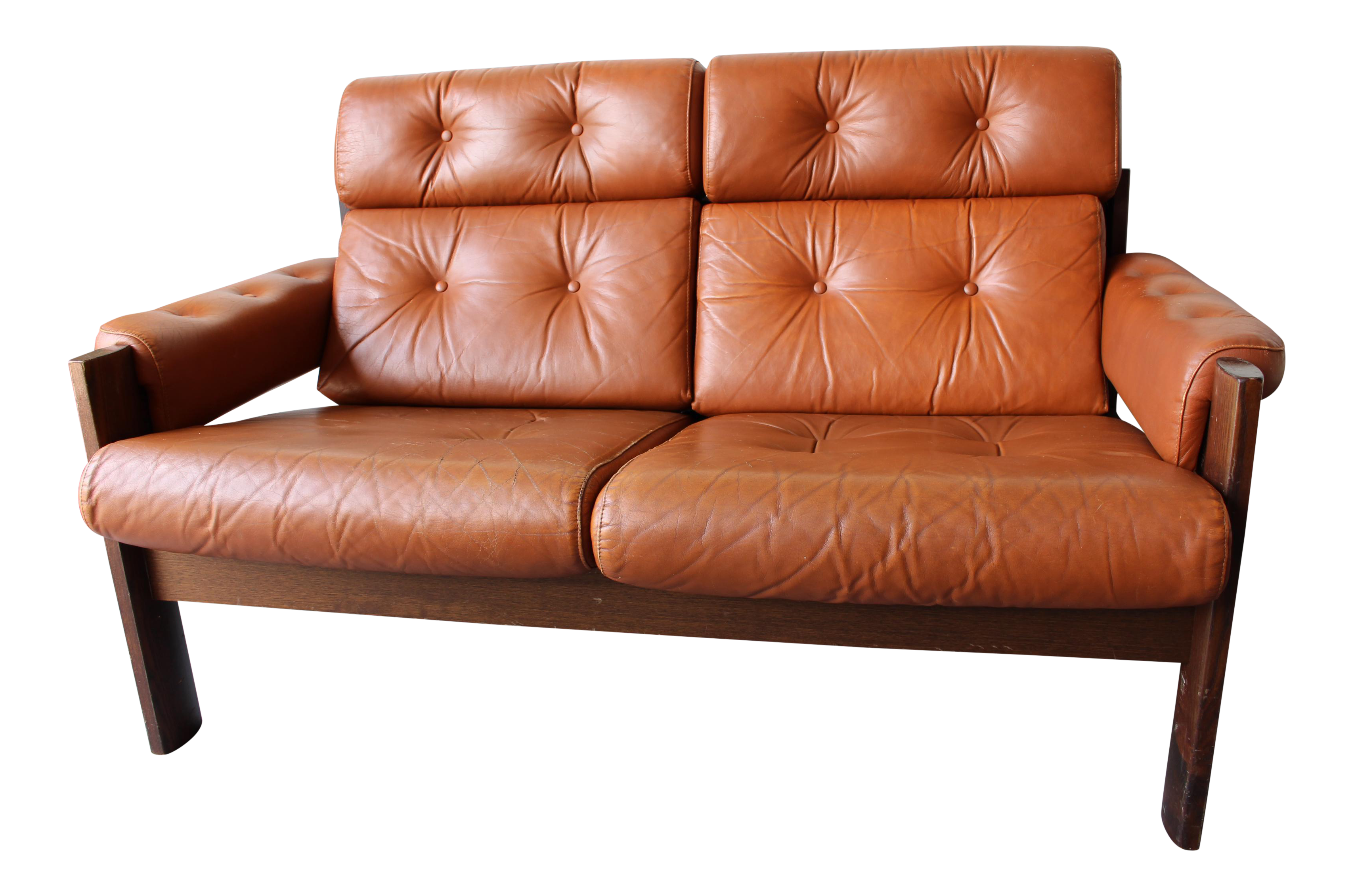 tan consignment loveseat upscale leather terracotta