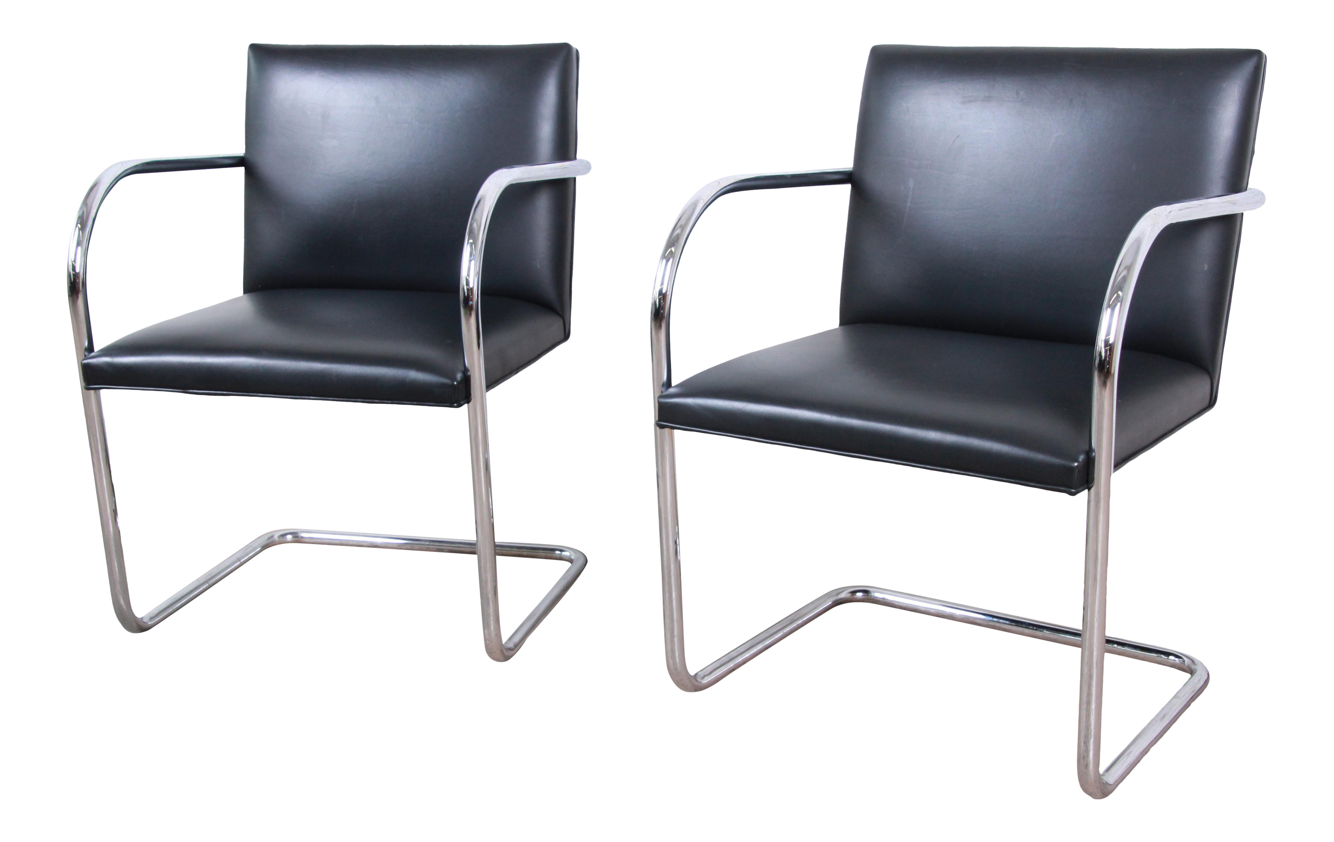 Chaise Brno Mies Van Der Rohe mies van der rohe for knoll black leather and chrome brno chairs - a pair