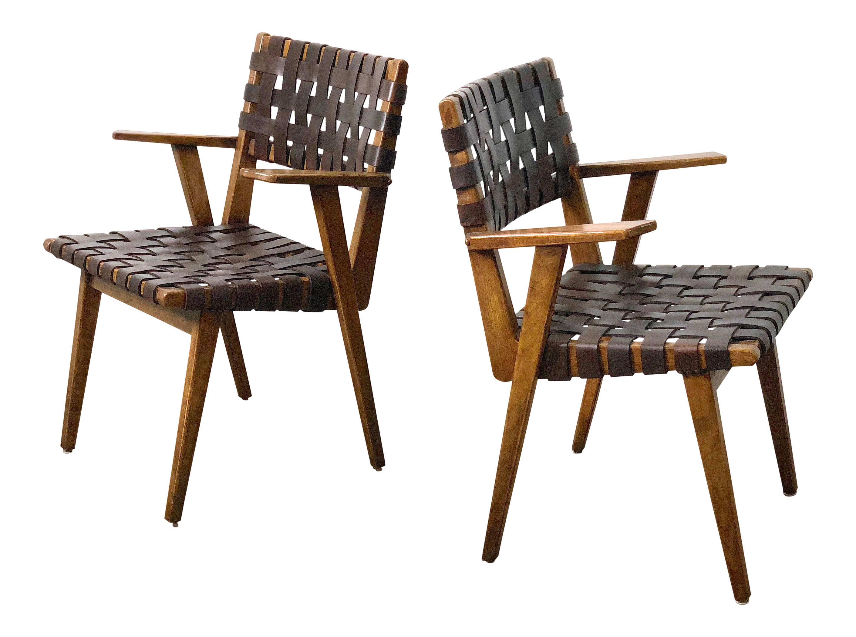 1940s mid century modern leather webbed chairs a pair chairish