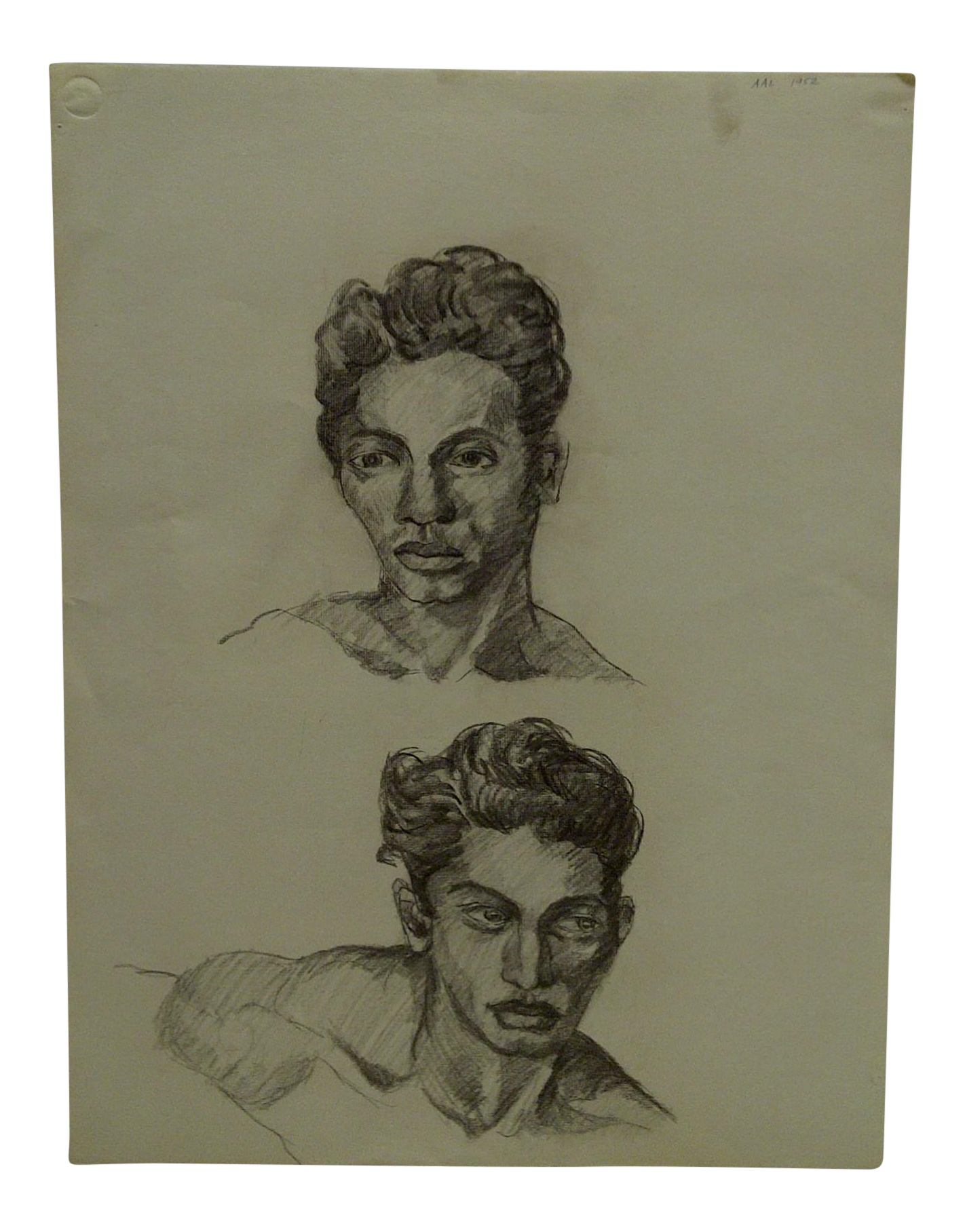 Mid Century Modern Original Drawing On Paper 2 Faces Of Jeremy By Tom Sturges Jr Chairish