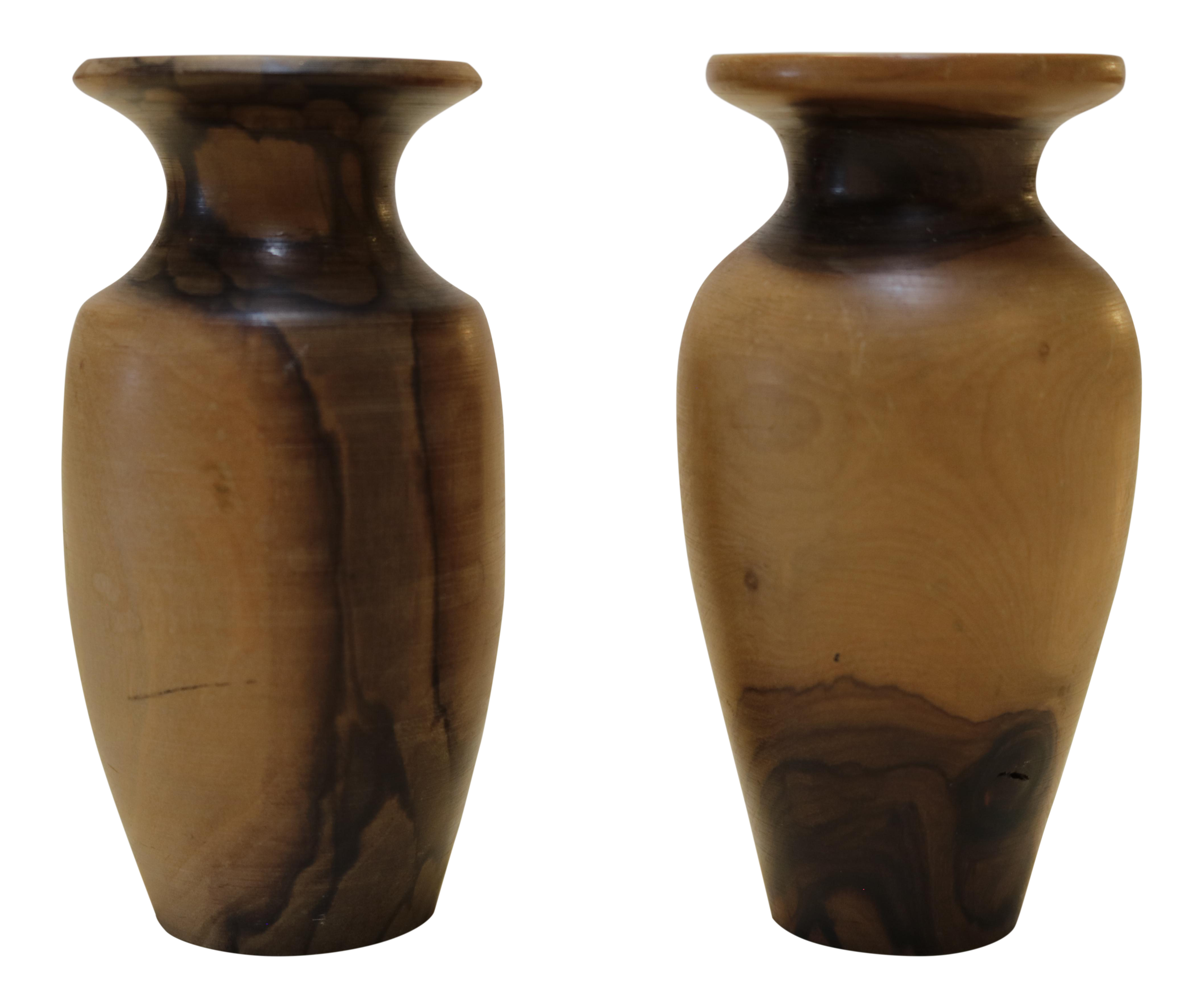 Turned wood vases a pair chairish reviewsmspy