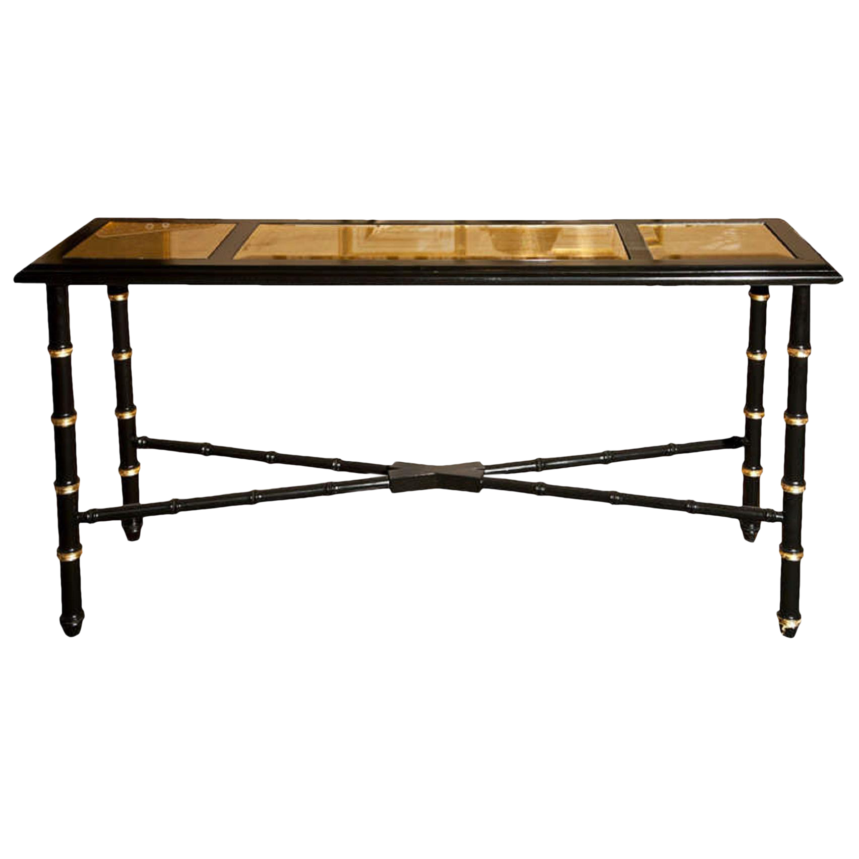 Distinguished Hollywood Regency Faux Bamboo Console Table