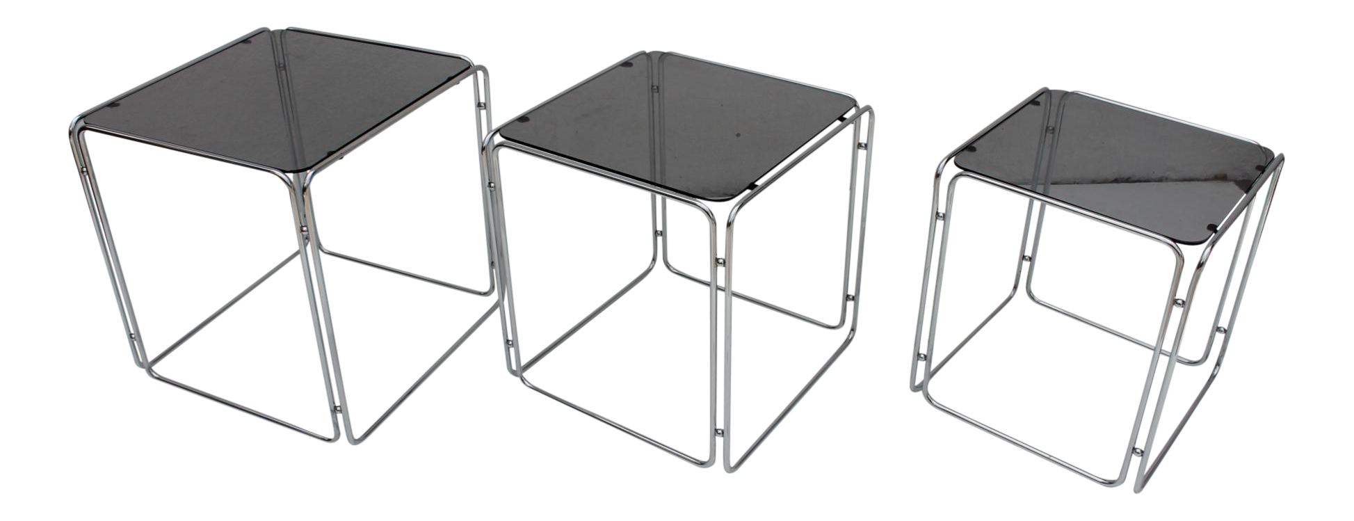 Vintage Max Sauze Chrome Smoked Gl Nesting Tables Set Of 3