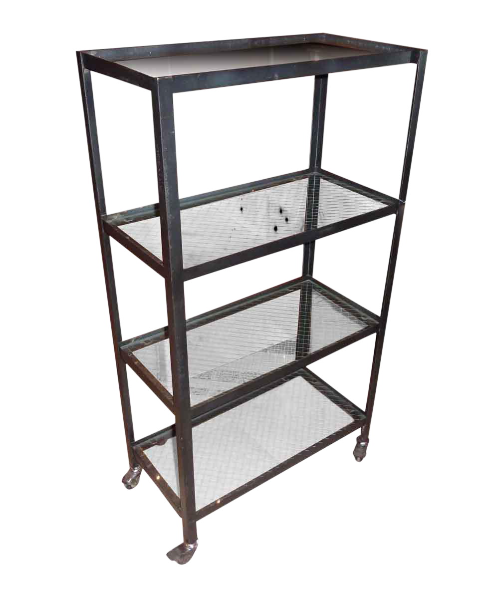 Steel Rolling Cart with 4-Salvaged Chicken Wire Glass Shelves | Chairish