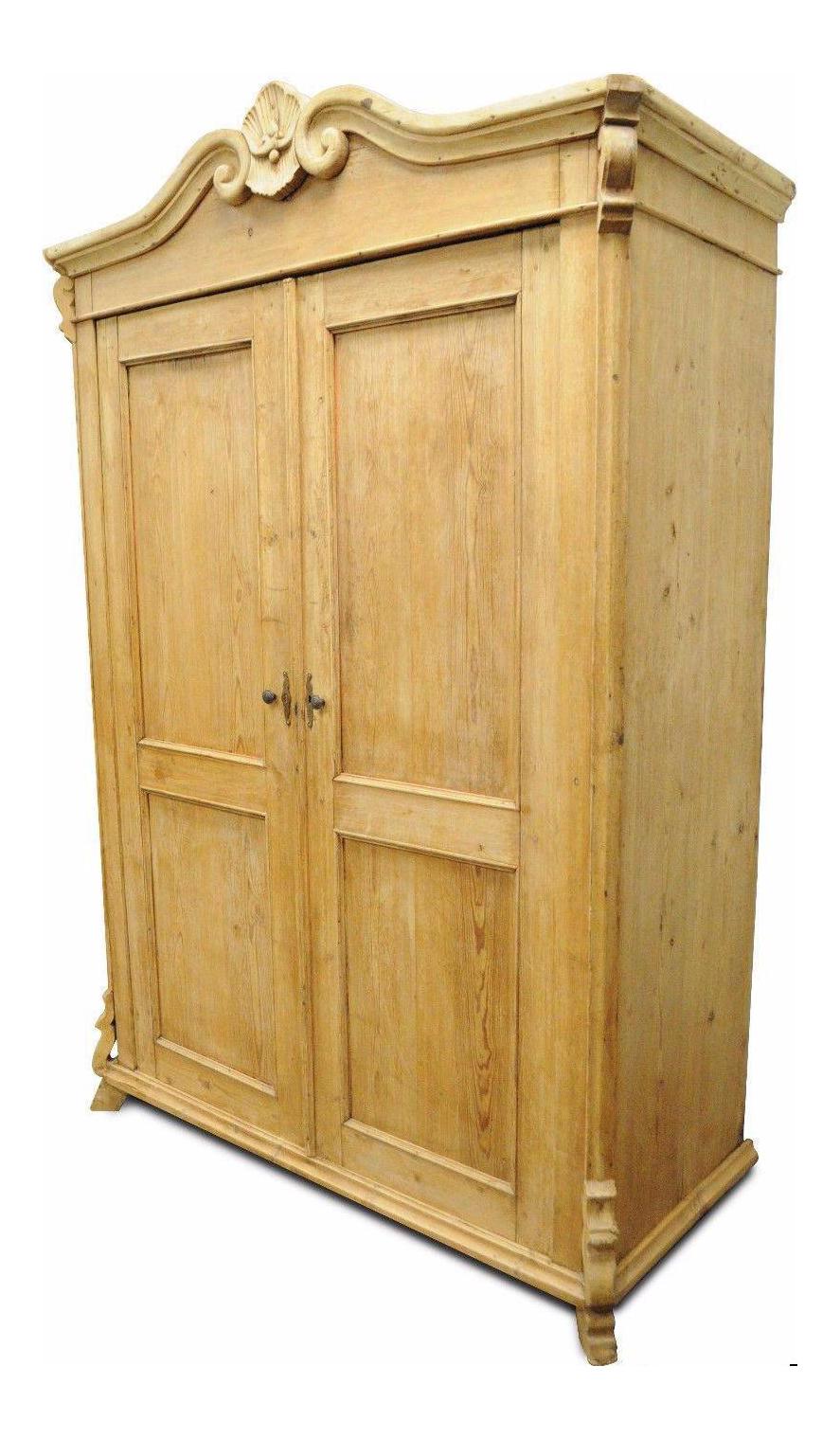 Primitive Rustic Pine Armoire Wardrobe | Chairish
