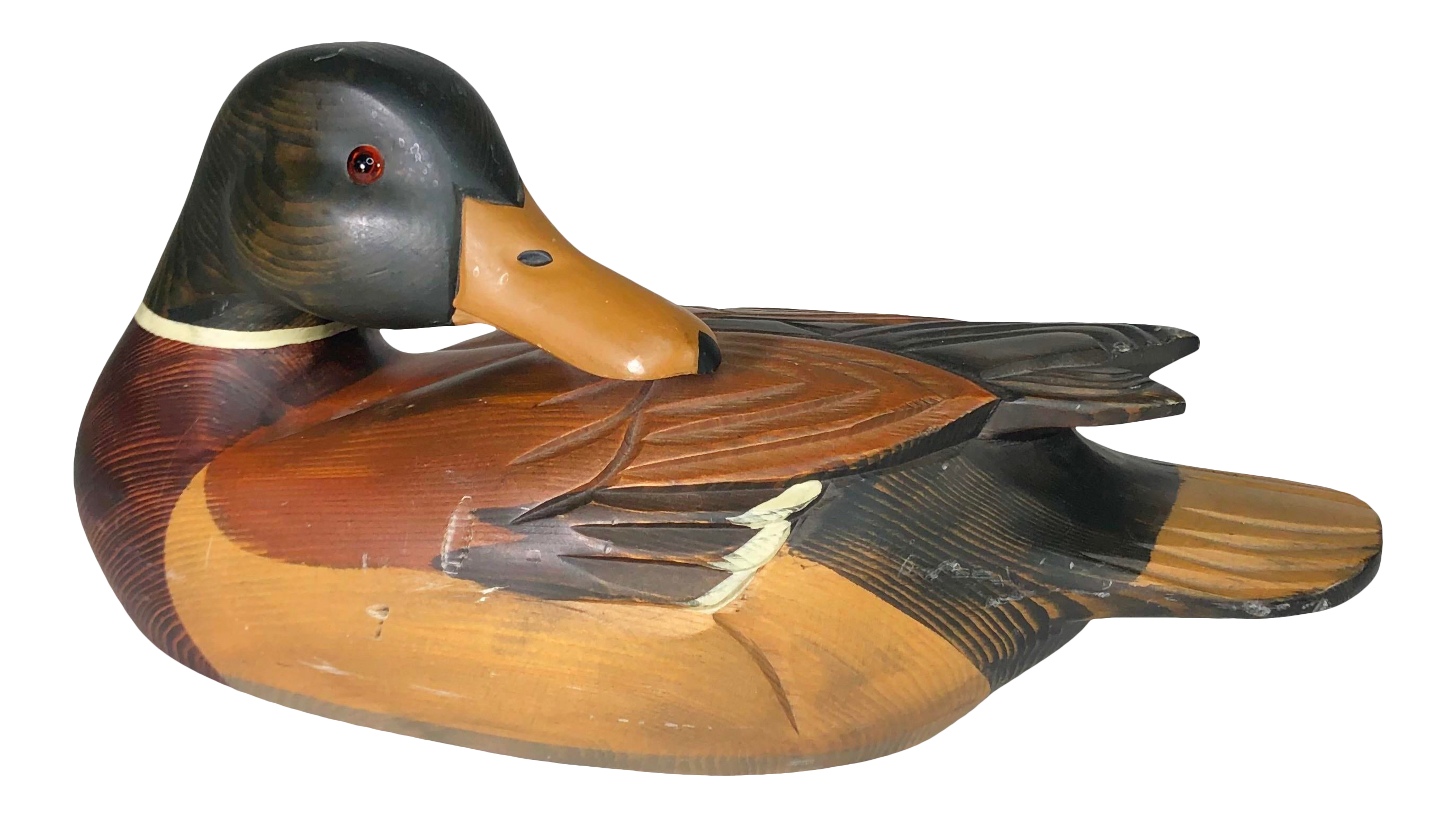 """Choice of 2 sizes Wooden Duck Ornament Shelf Duck 6/""""//8/"""" Handmade Wood Carving"""