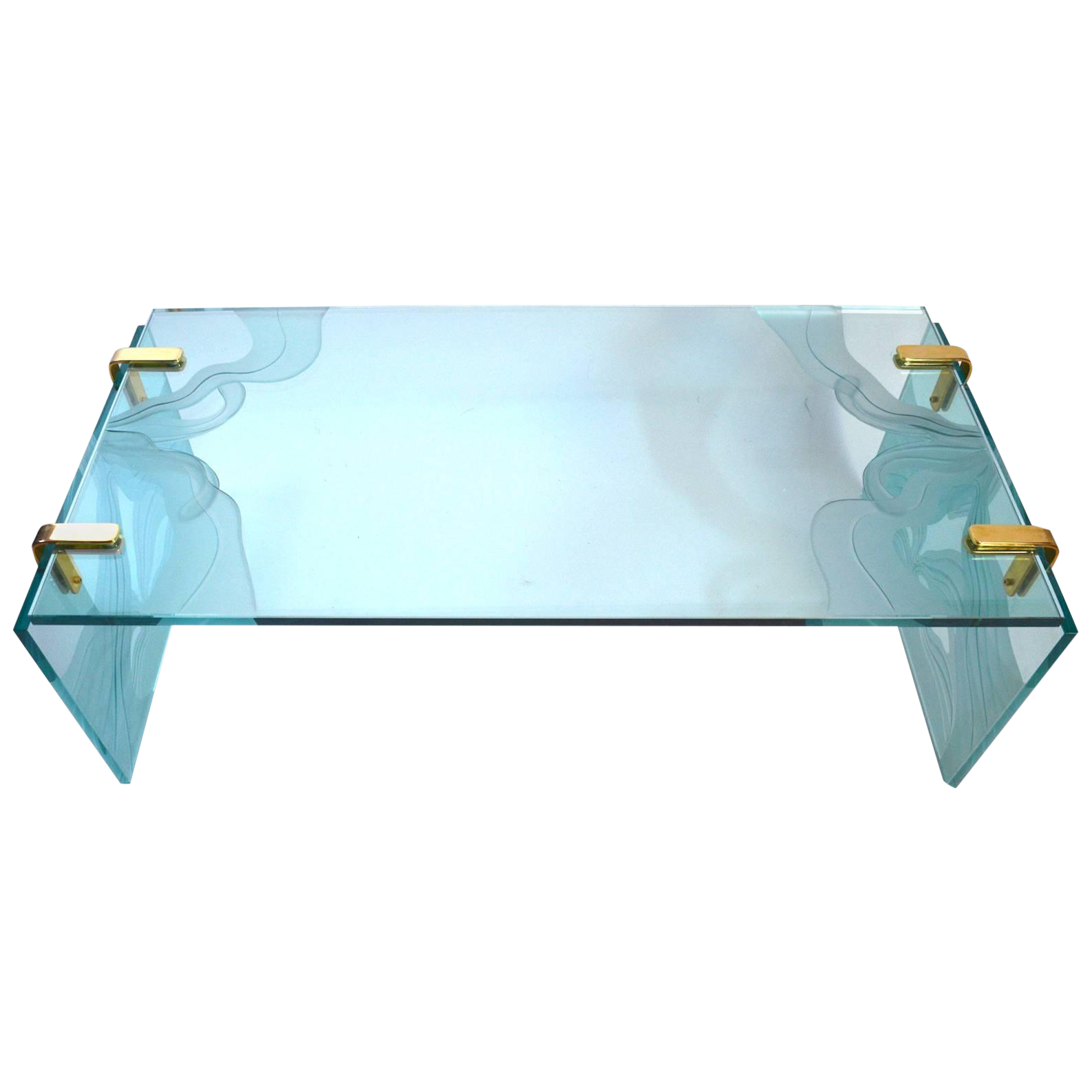 Thick Etched Plate Glass Coffee Table Chairish