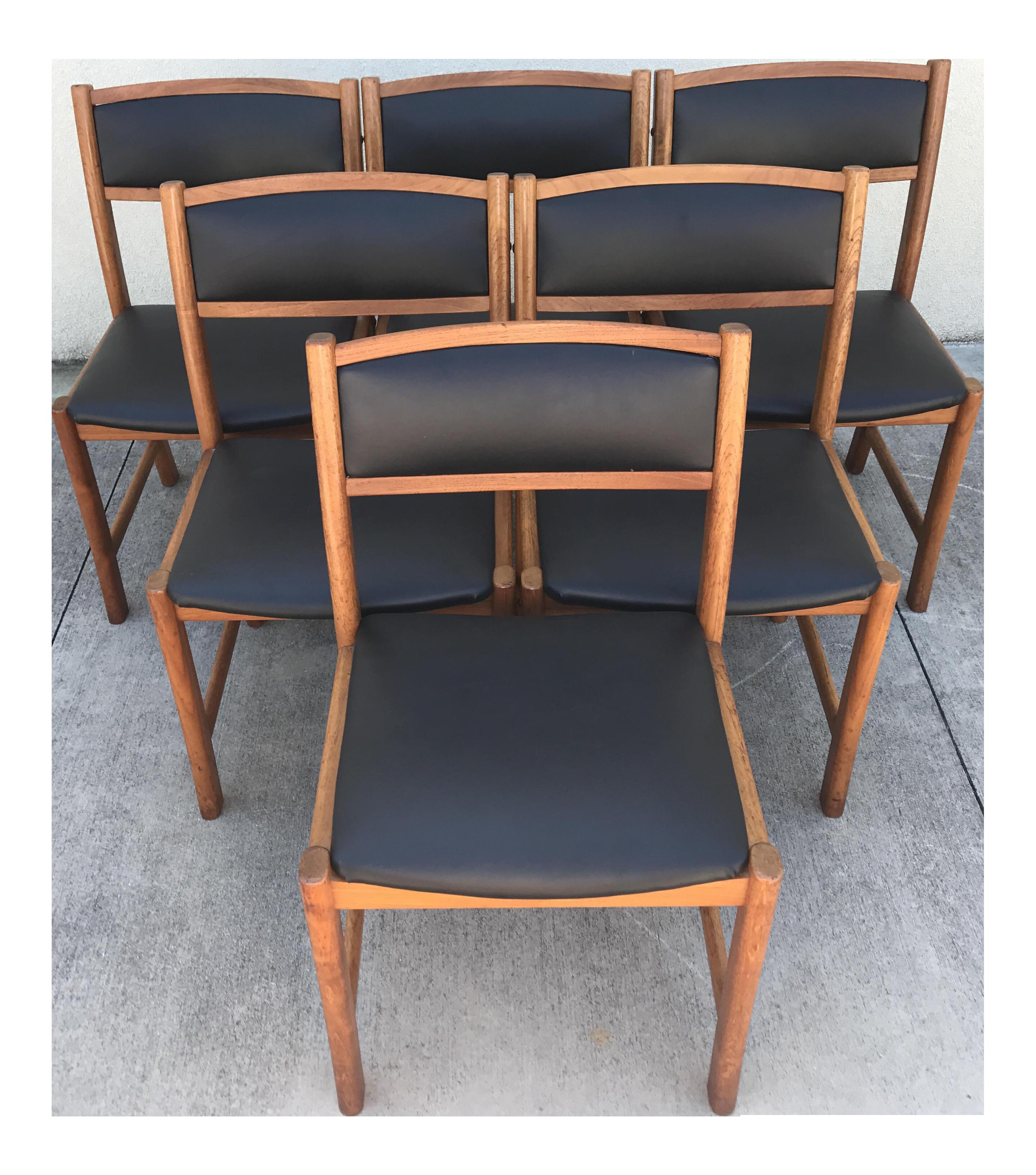 Danish modern teak dining chairs set of 6 chairish for Modern dining chairs ireland