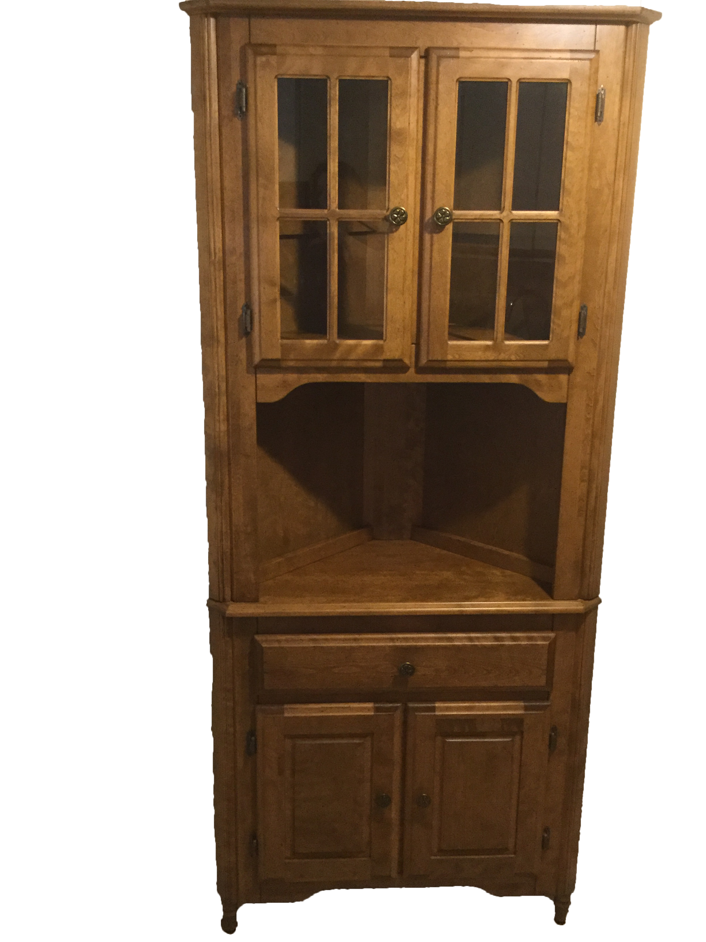 Corner Hutch Buffet China Cabinet Handcrafted Solid Birch