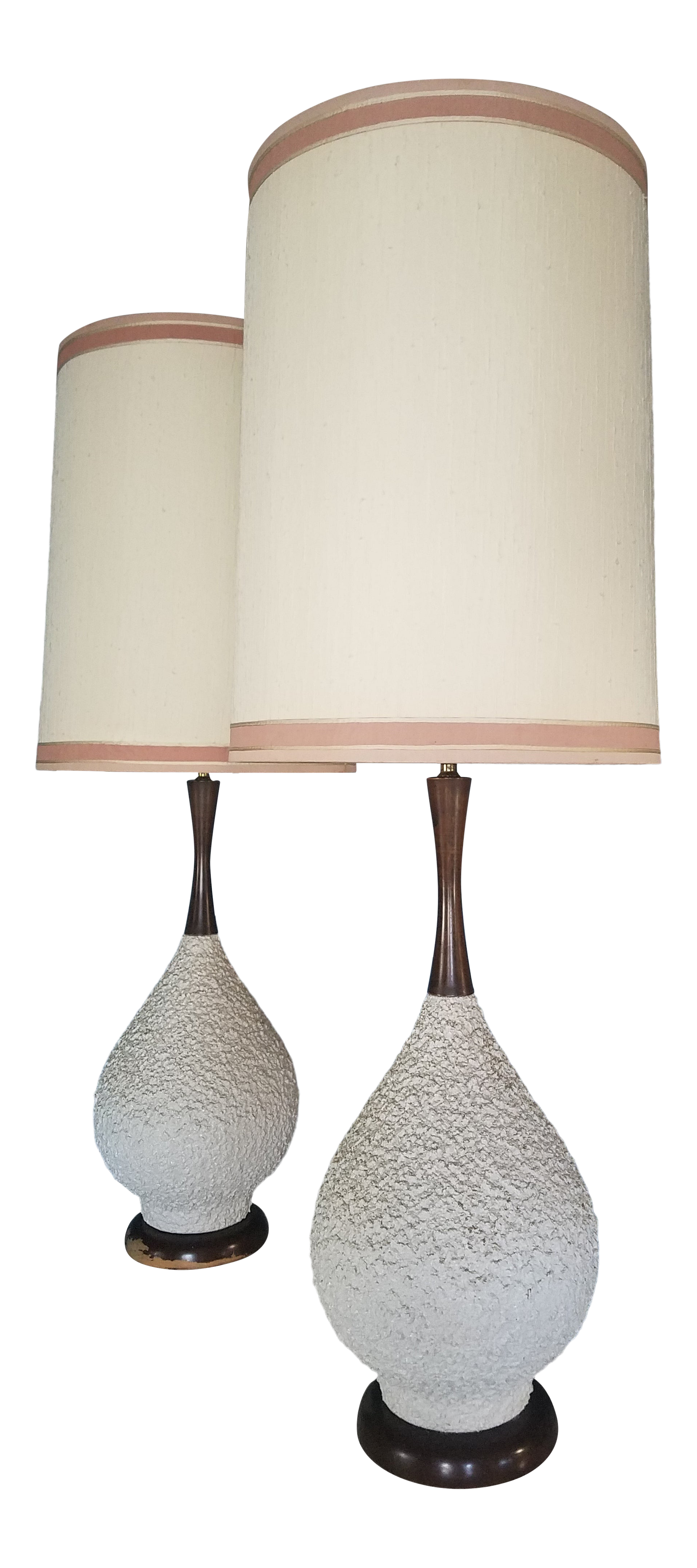 Picture of: Mid Century White Textured Ceramic And Wood Lamps A Pair Chairish