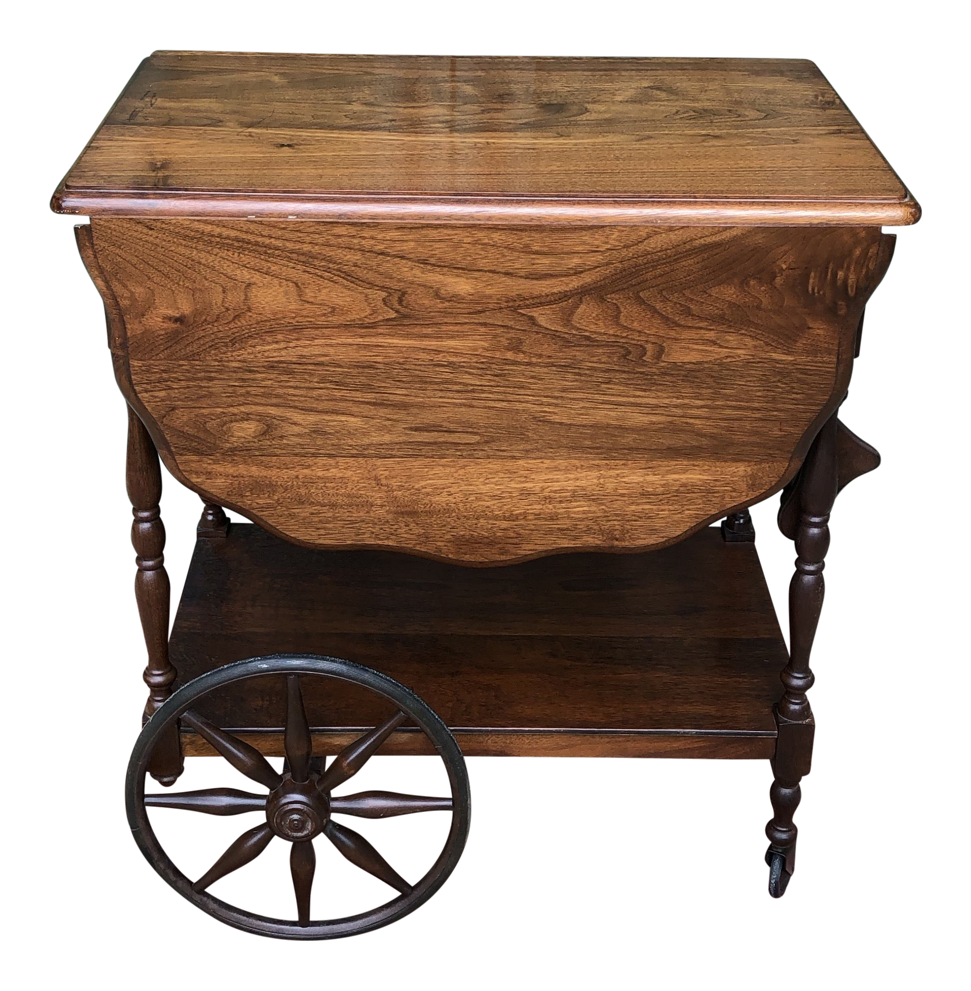 Antique Wood Tea Cart Or Bar Cart With Wheels Chairish