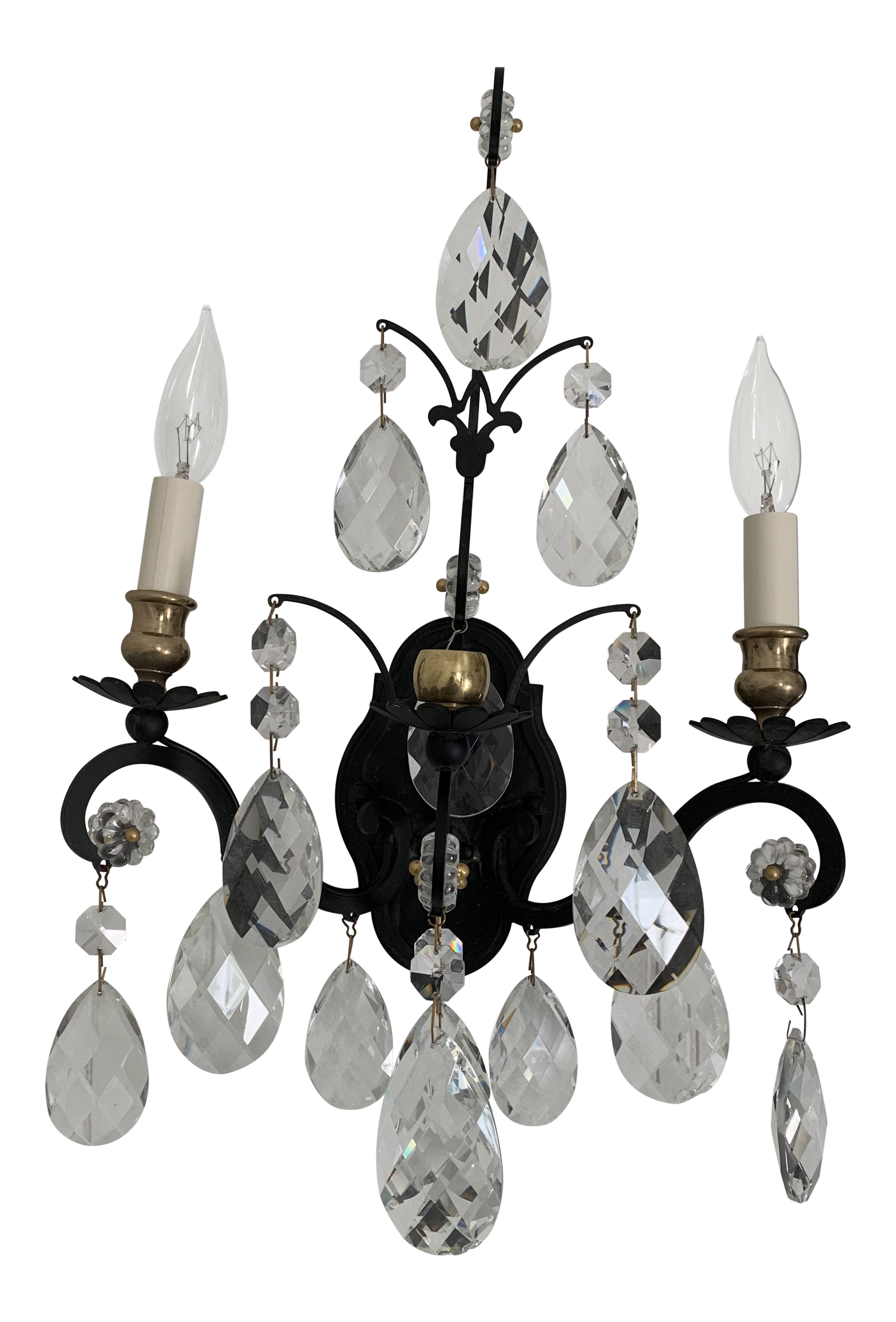 Image of: 18th Century French Black And Crystal Sconce Chairish
