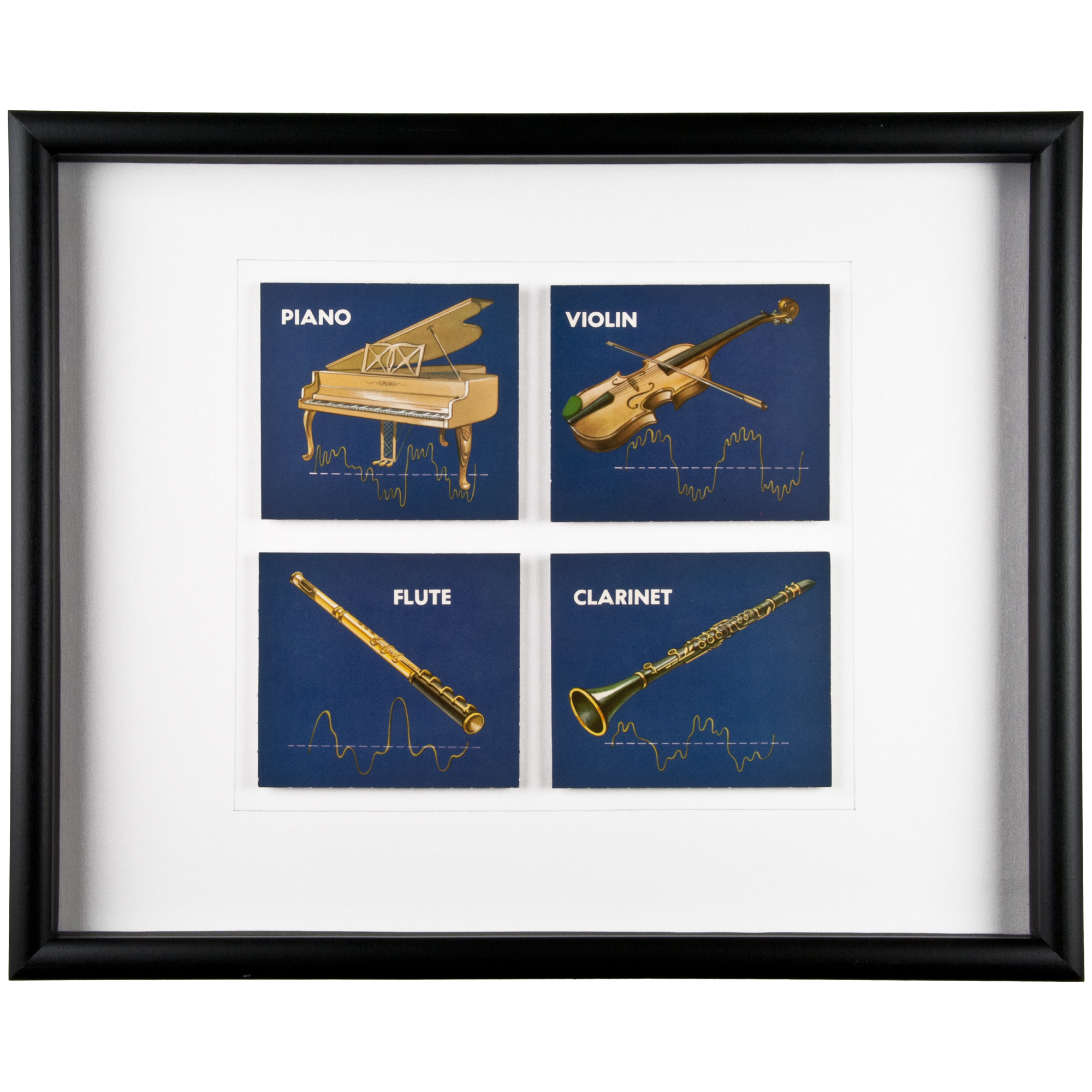 Framed vintage musical instrument flash cards 4 chairish for 0co om cca 9 source table