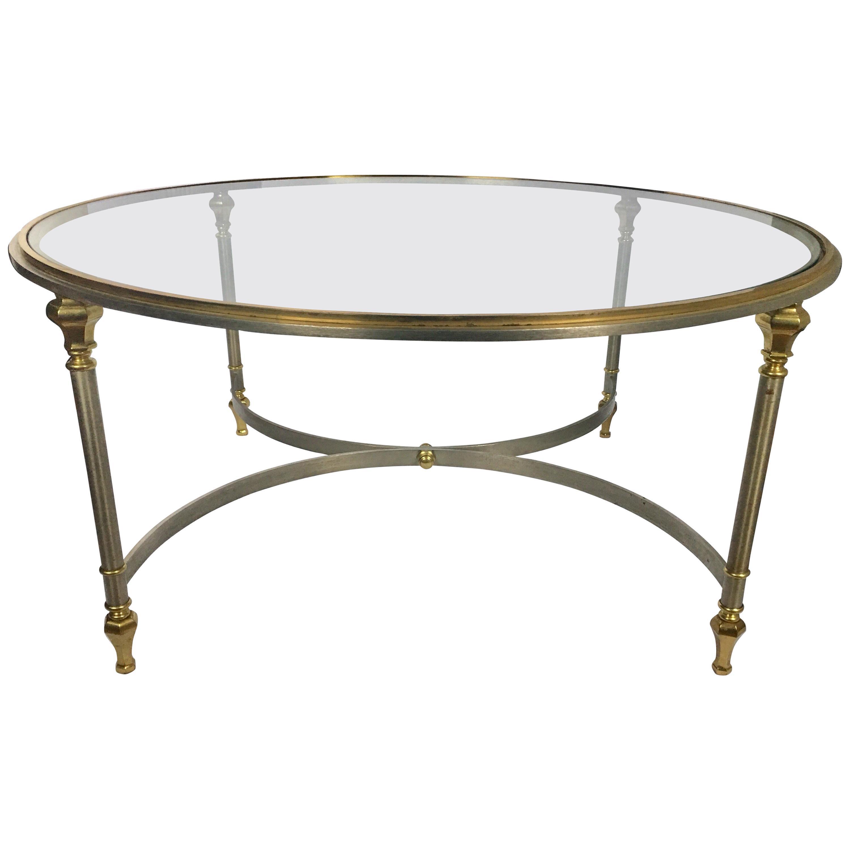 - Italian Mid-Century Modern Round Brass And Steel Coffee Table