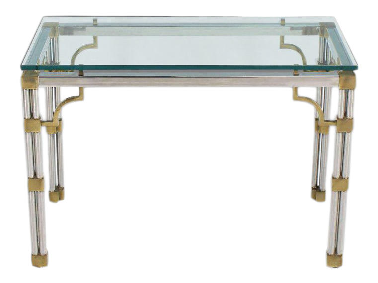 Mid Century Modern Chrome Glass And Brass Heavy Console Sofa Table
