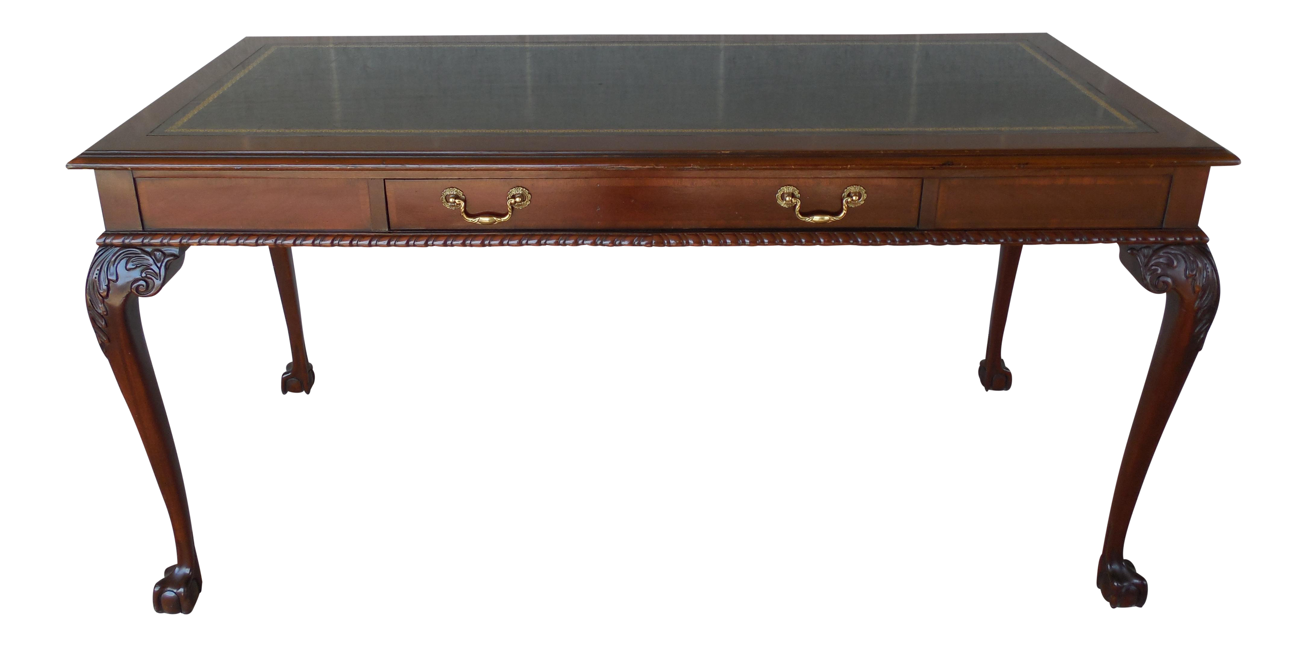Drexel Dupont Plaza Georgian Style Ball Claw Foot Leather Top Writing Desk Chairish
