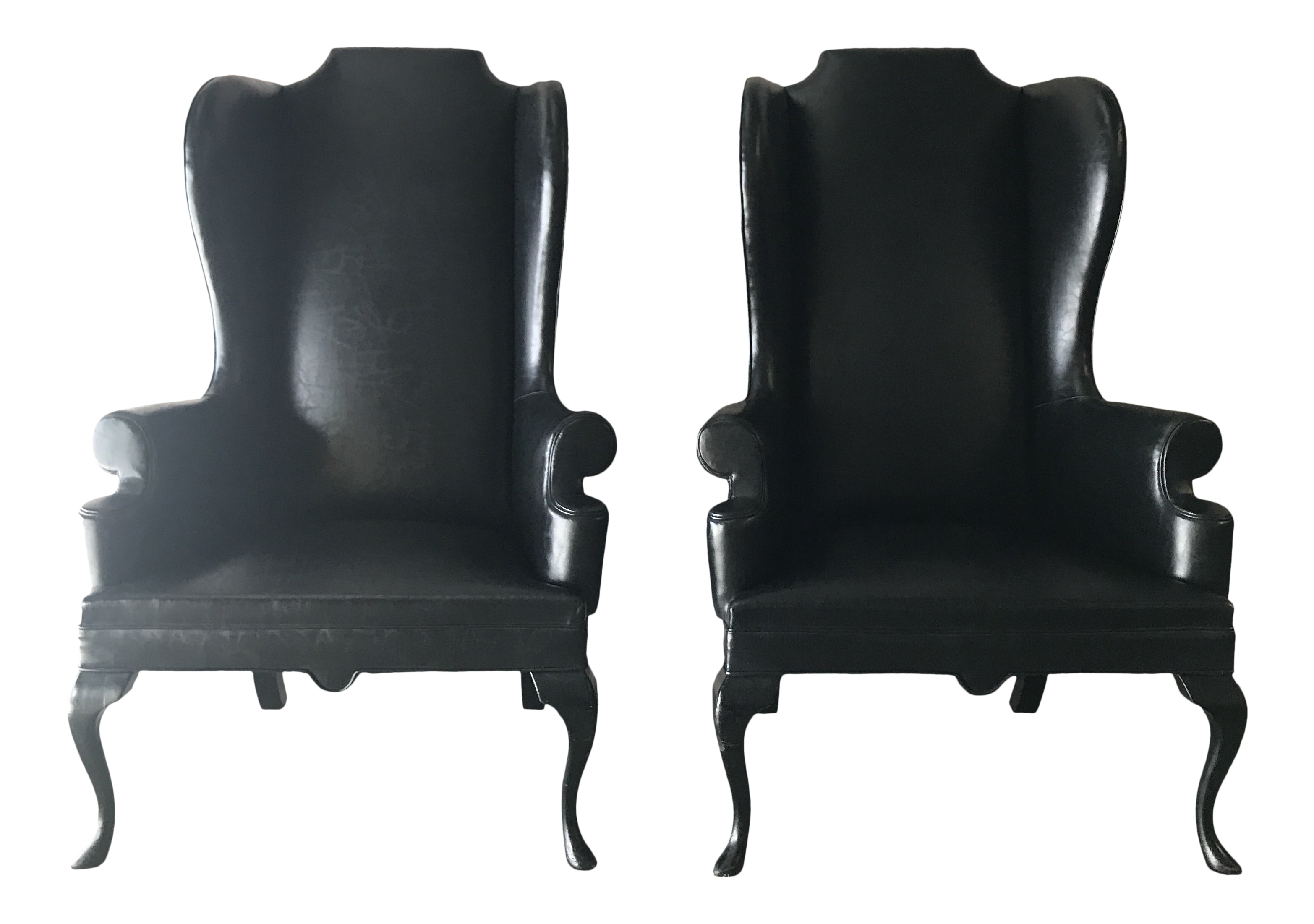 Prime Vintage Mid Century Black Faux Leather Chairs A Pair Alphanode Cool Chair Designs And Ideas Alphanodeonline