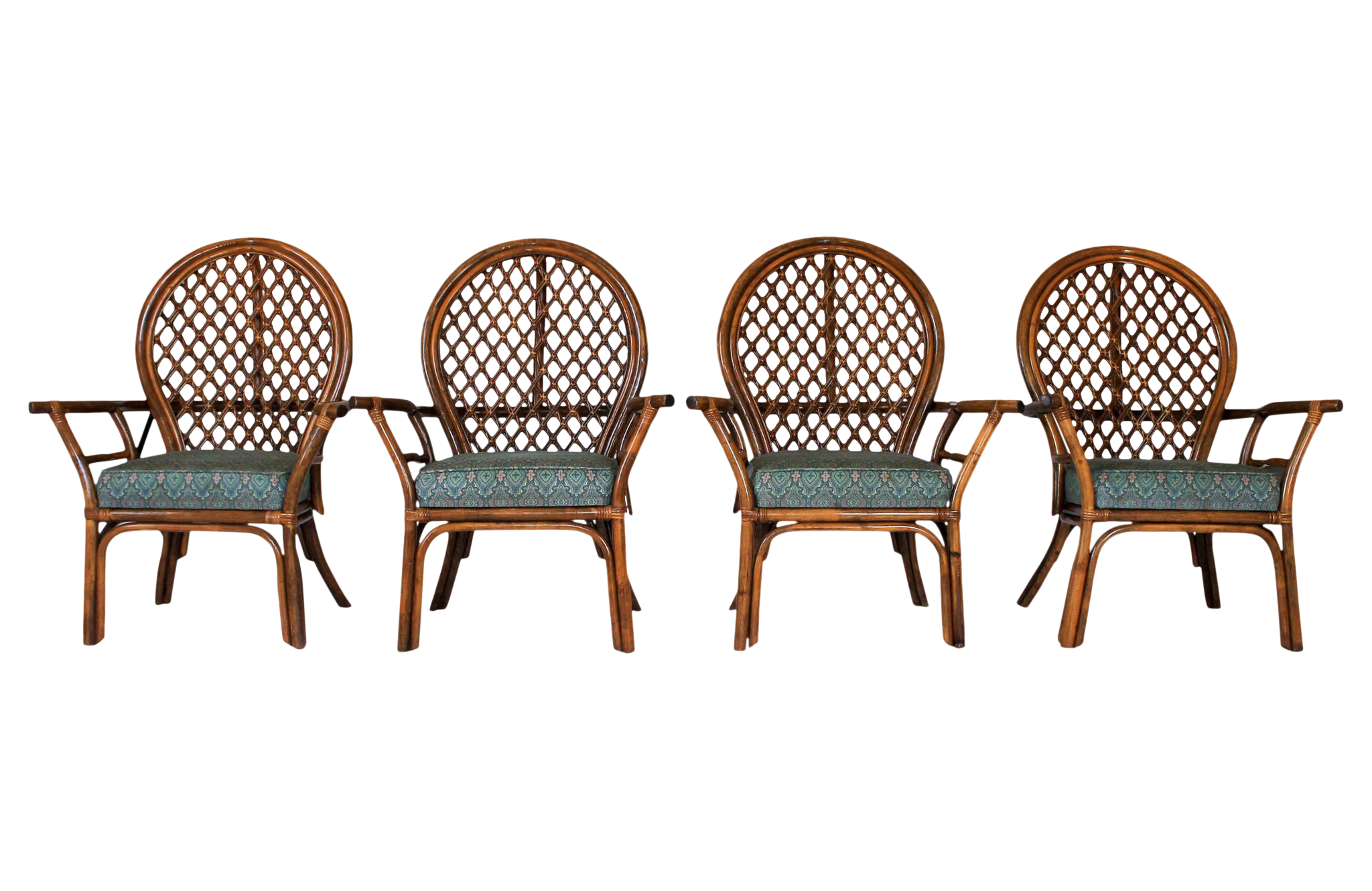 Mid Century Fan Back Rattan Dining Chairs Set Of 4
