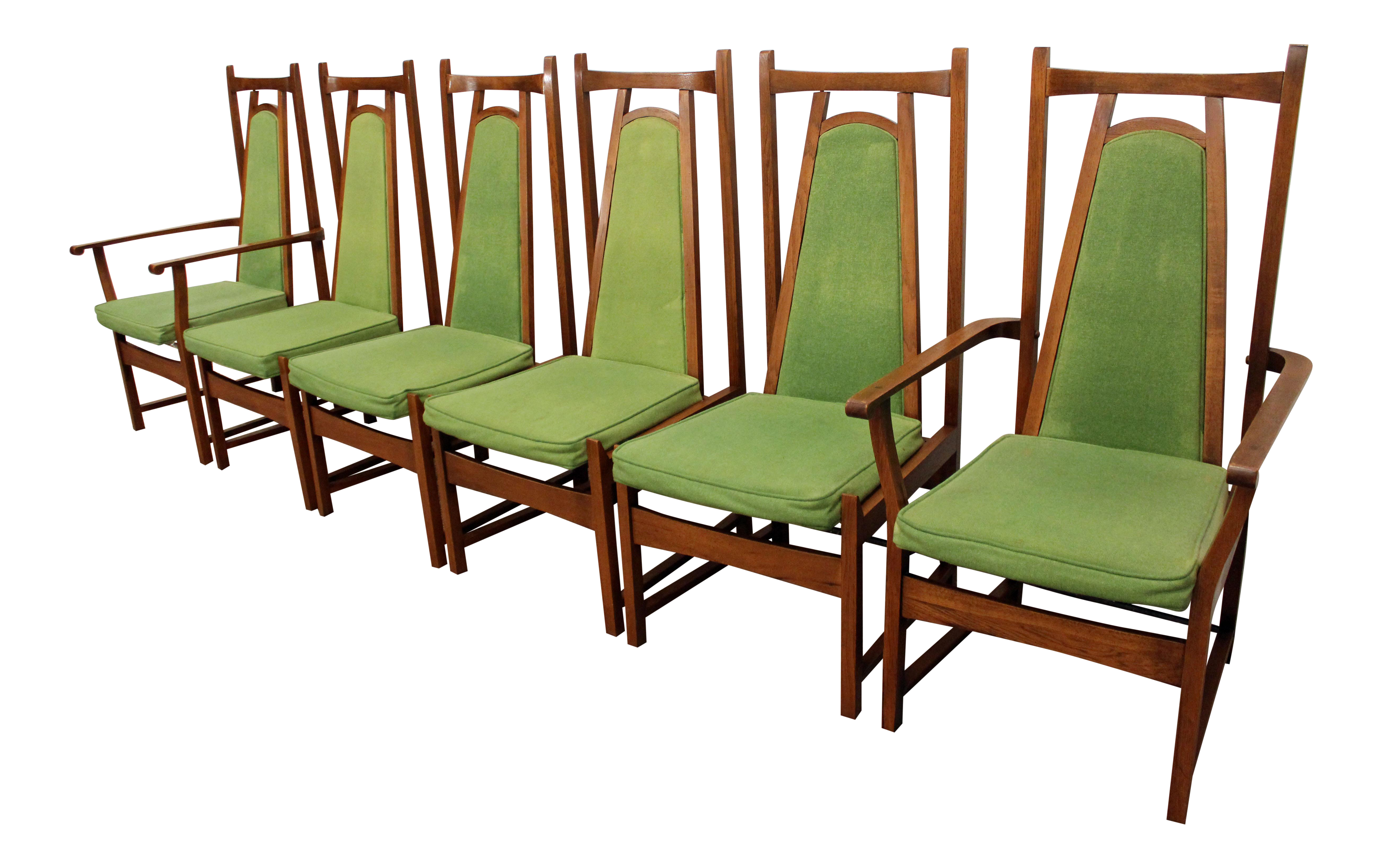 Mid Century Modern Walnut U0026 Lime Green High Back Dining Chairs   Set Of 6 |  Chairish