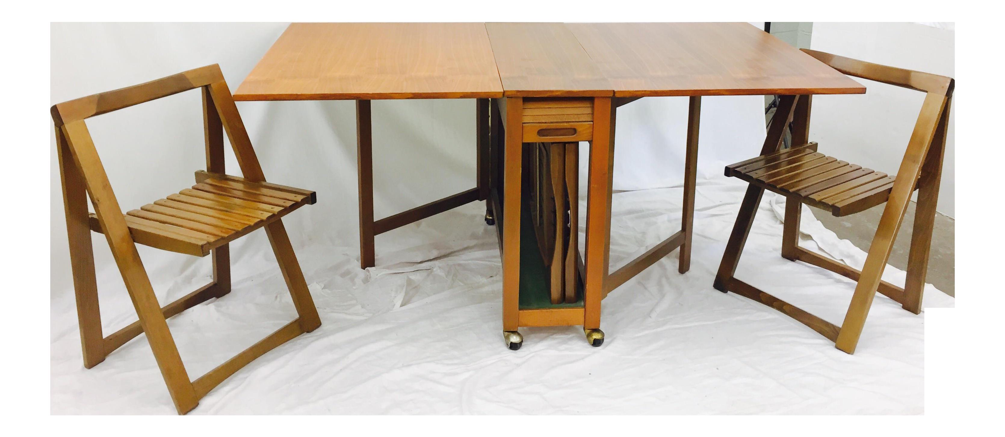Danish Modern Hideaway Gateleg Table & Chairs - Set of 3 | Chairish