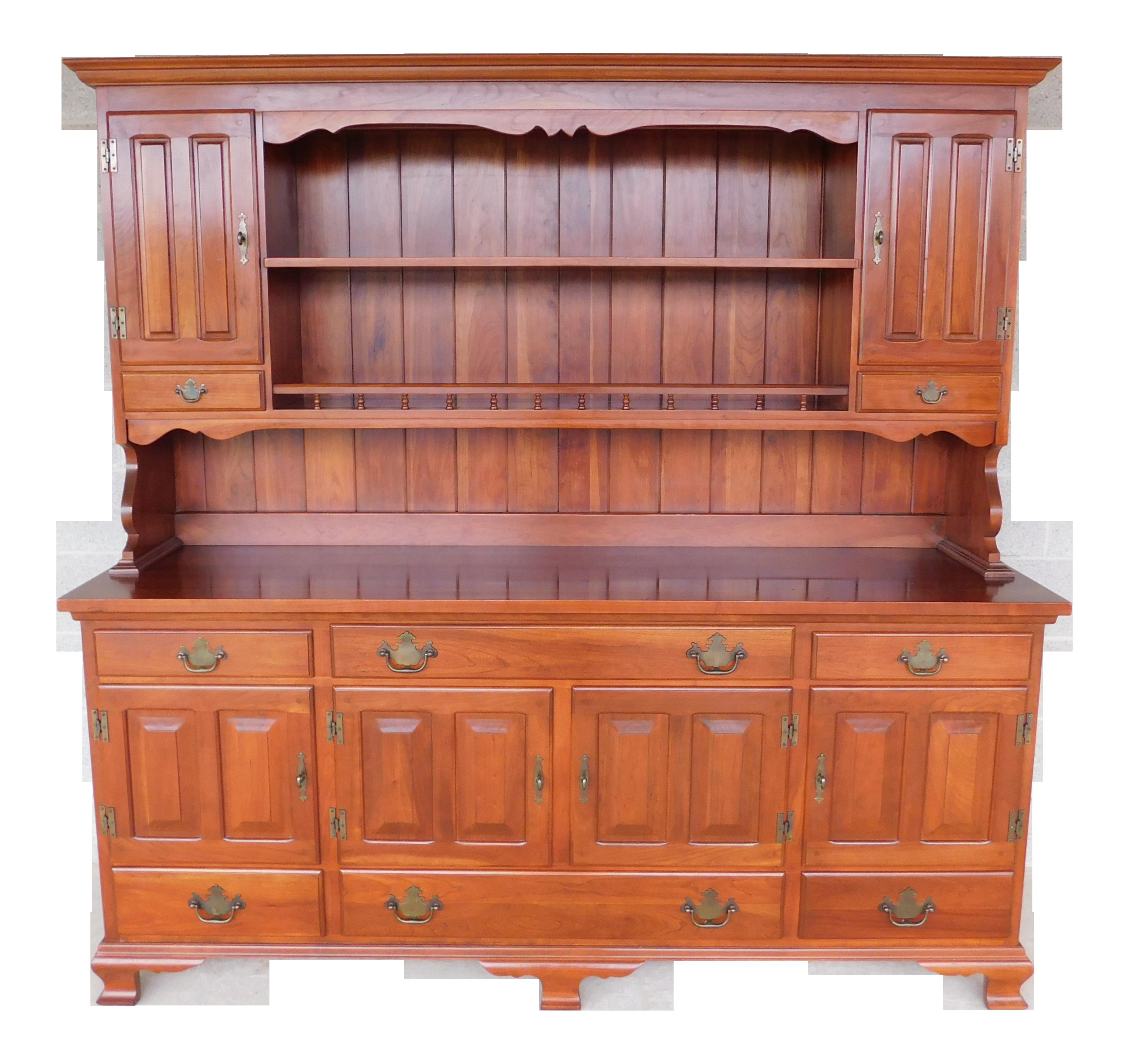 Harden Furniture Vintage 2pc Cherry Pewter Hutch Cabinet 75 W Chairish