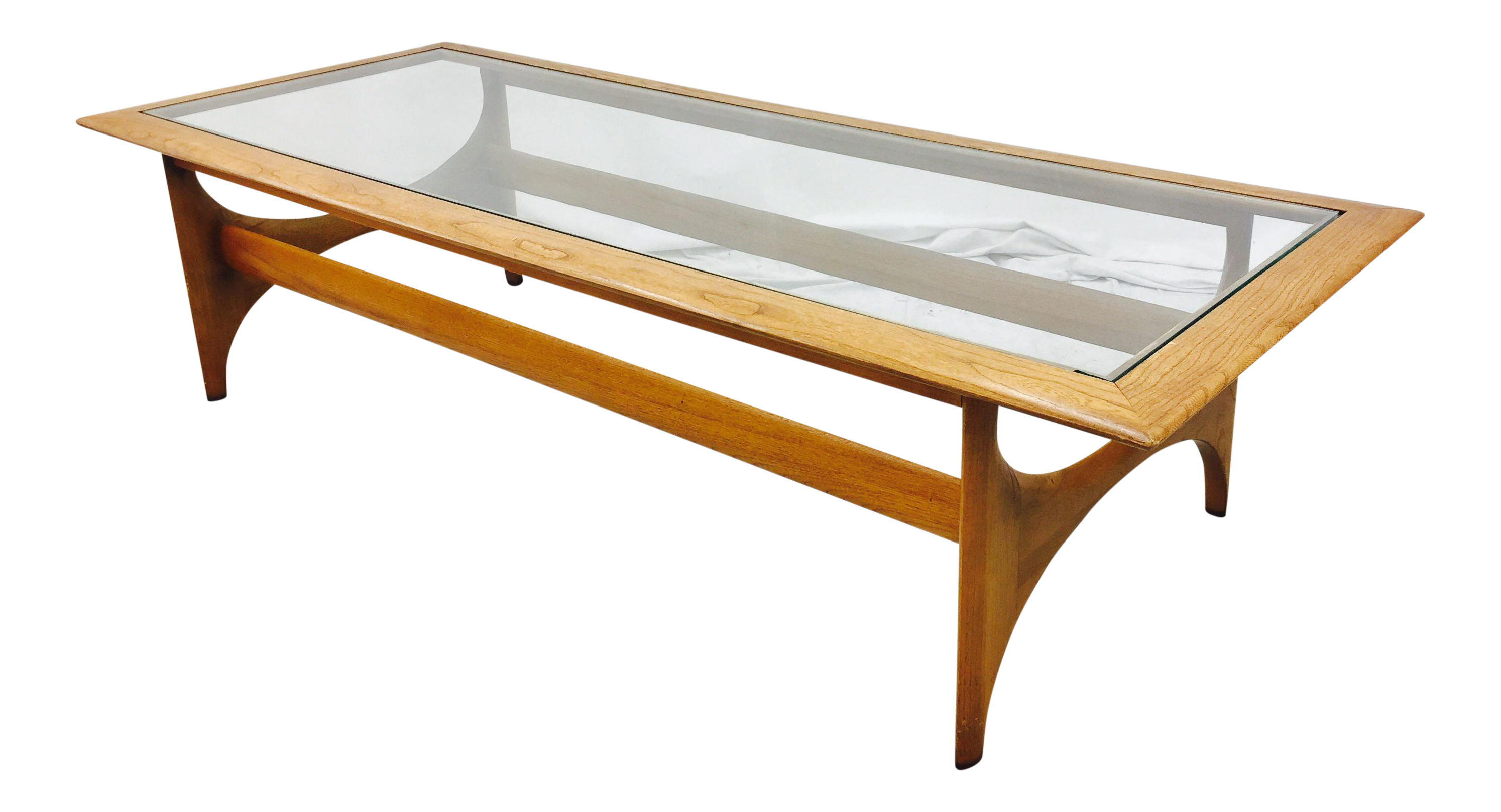 Lane Mid Century Walnut & Glass Top Coffee Table