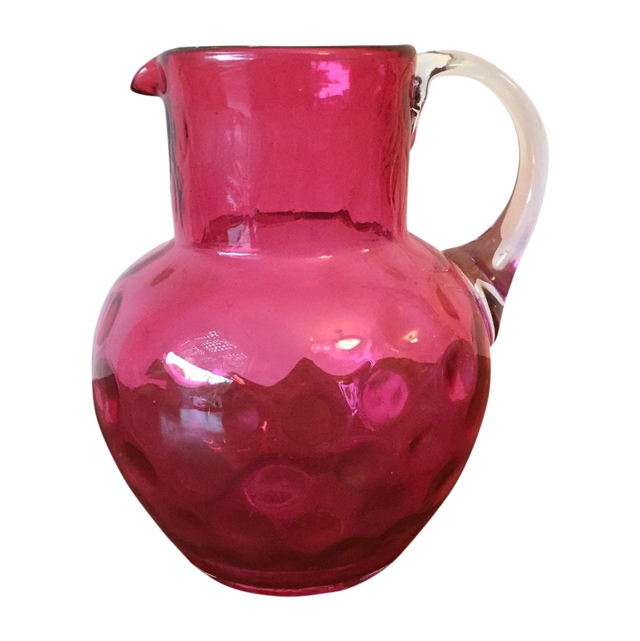 Art deco hand blown cranberry glass pitcher chairish for Kitchen cabinet trends 2018 combined with hand blown glass wall art