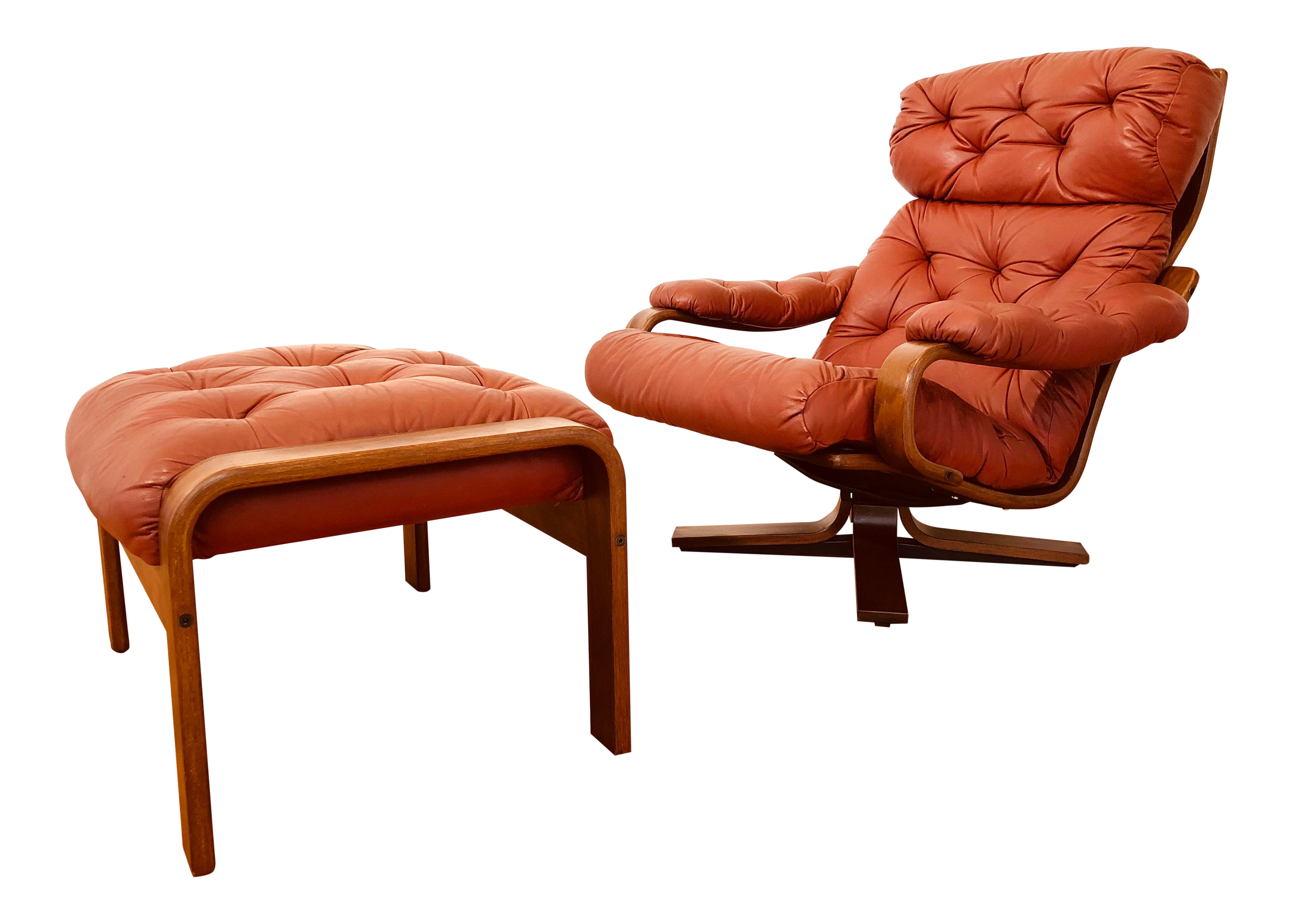 Magnificent 20Th Century Scandinavian Teak Bentwood And Leather Swivel Chair With Ottoman 2 Pieces Ibusinesslaw Wood Chair Design Ideas Ibusinesslaworg