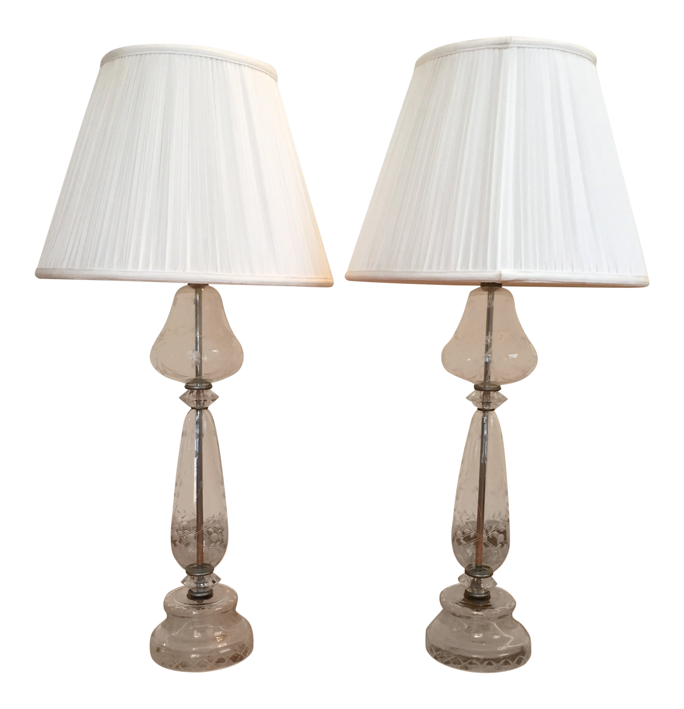 Vintage Crystal Table Lamps With Floral Etching A Pair Chairish