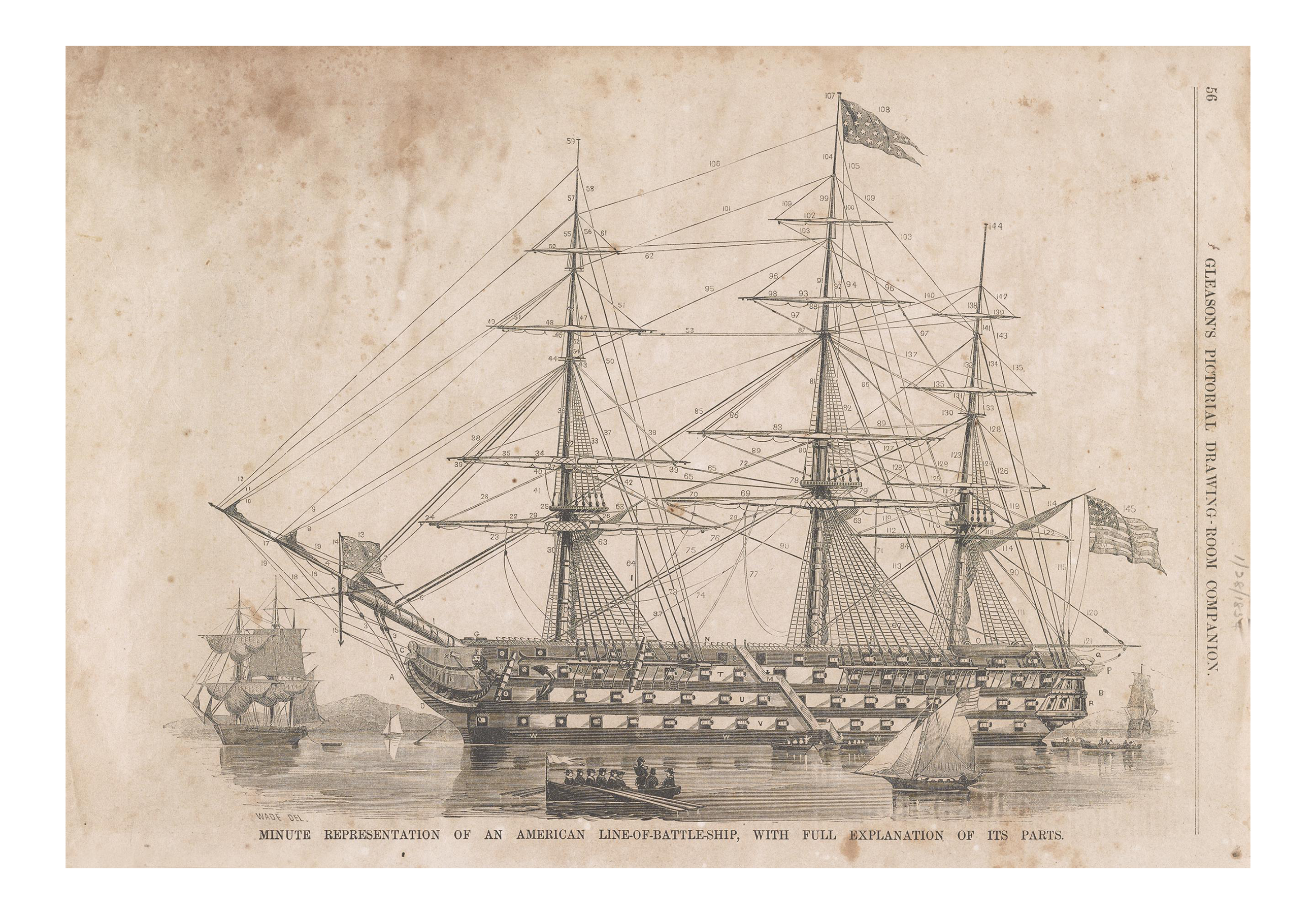 Vintage print of a ship diagram chairish pooptronica Images