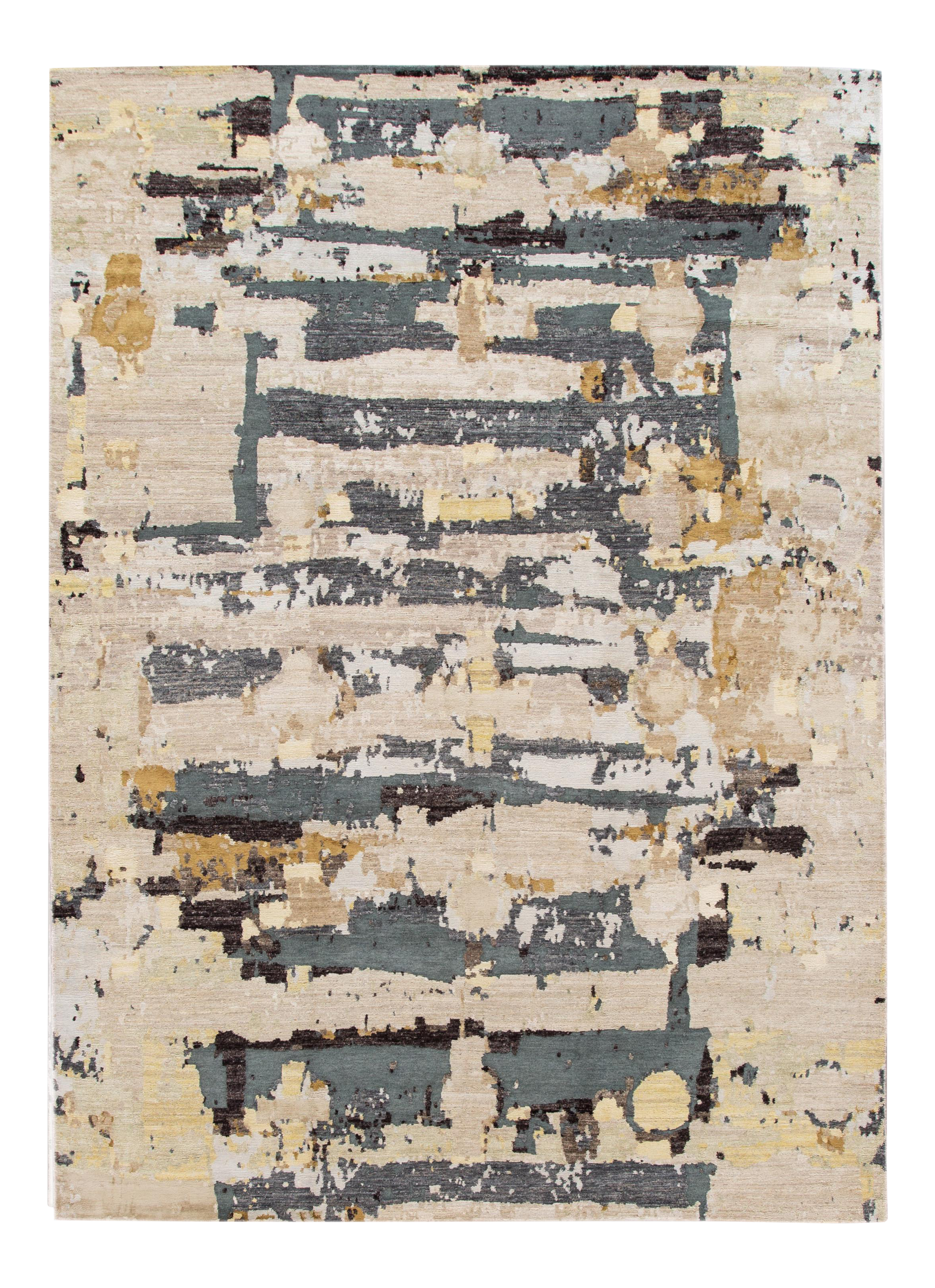 Contemporary Abstract Beige Indian Wool And Silk Rug Chairish