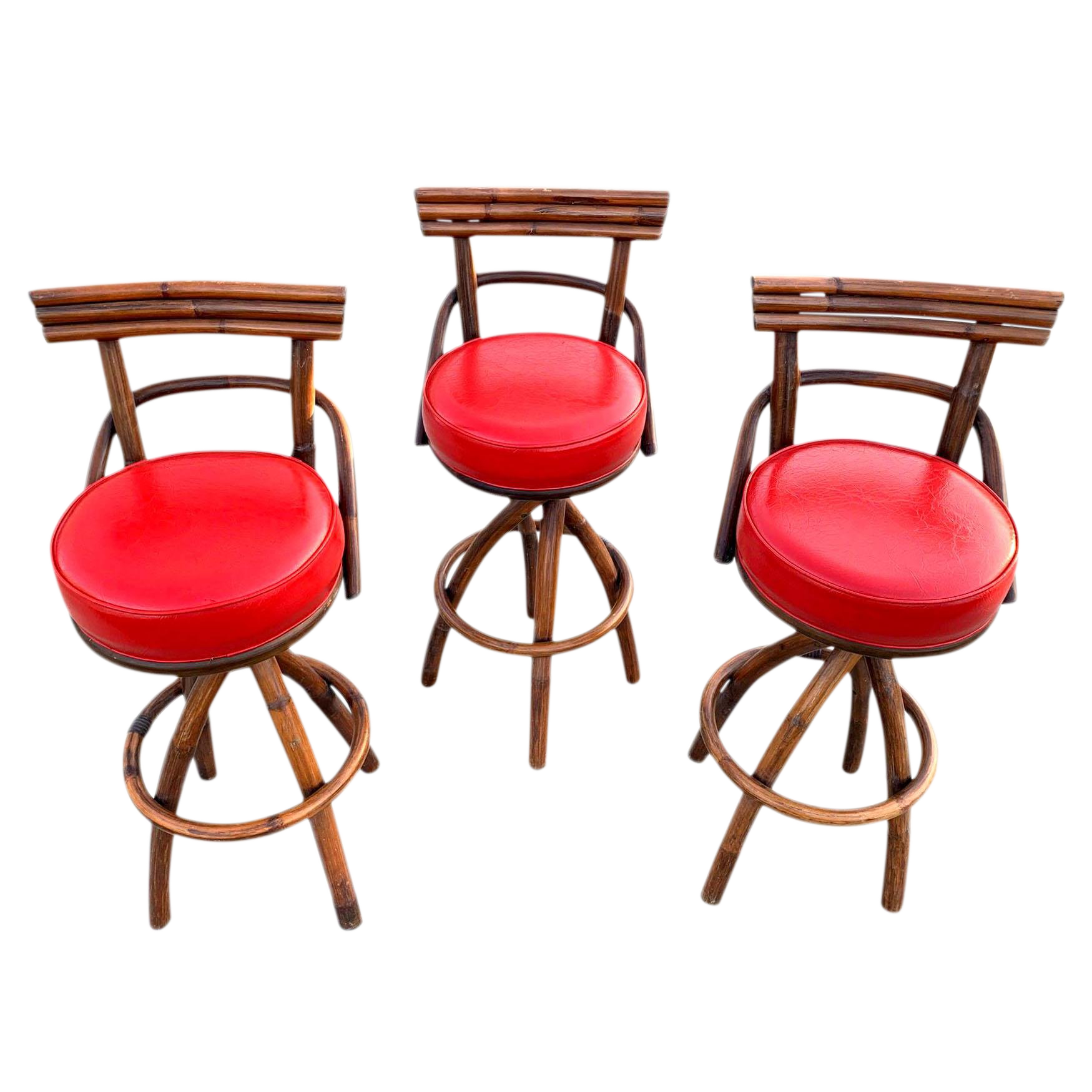 Awe Inspiring 1960S Vintage Paul Frankl Style Red Coral Bent Wood Bamboo Tiki Bar Stools Set Of 3 Machost Co Dining Chair Design Ideas Machostcouk