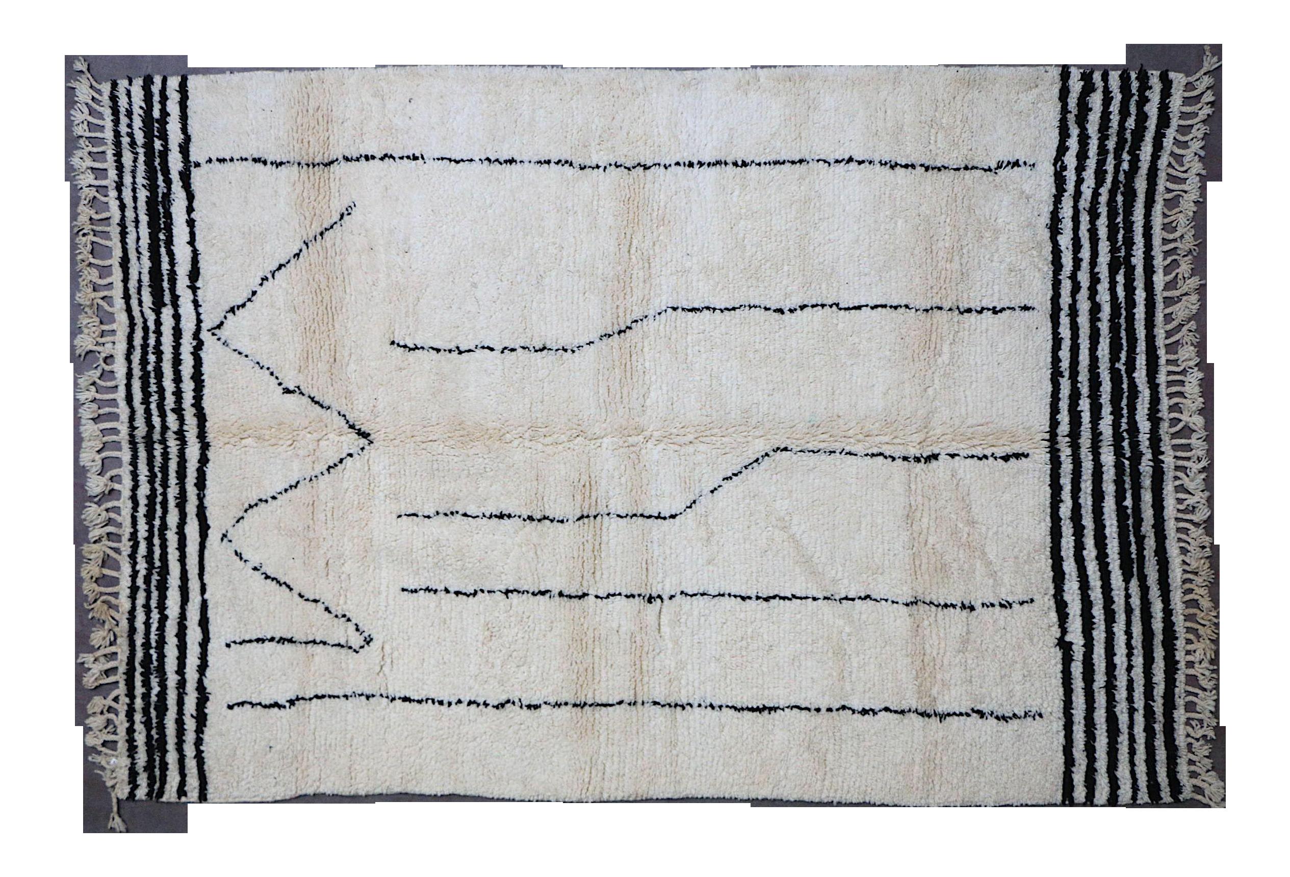 Uitgelezene Moroccan Beni Ourain Rug-6'7'x9'5