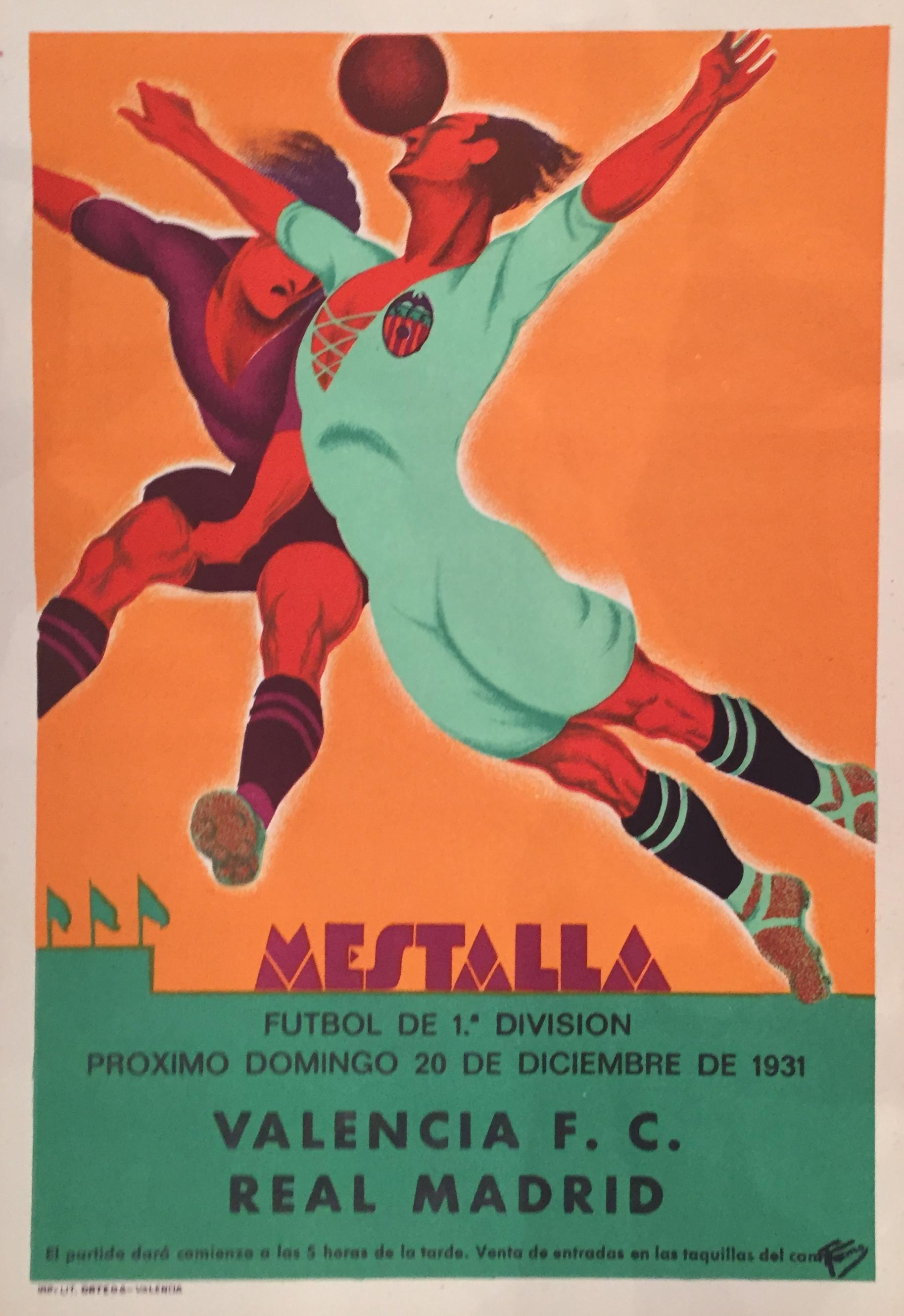 Vintage Spanish Soccer Poster Valencia Vs Real Madrid