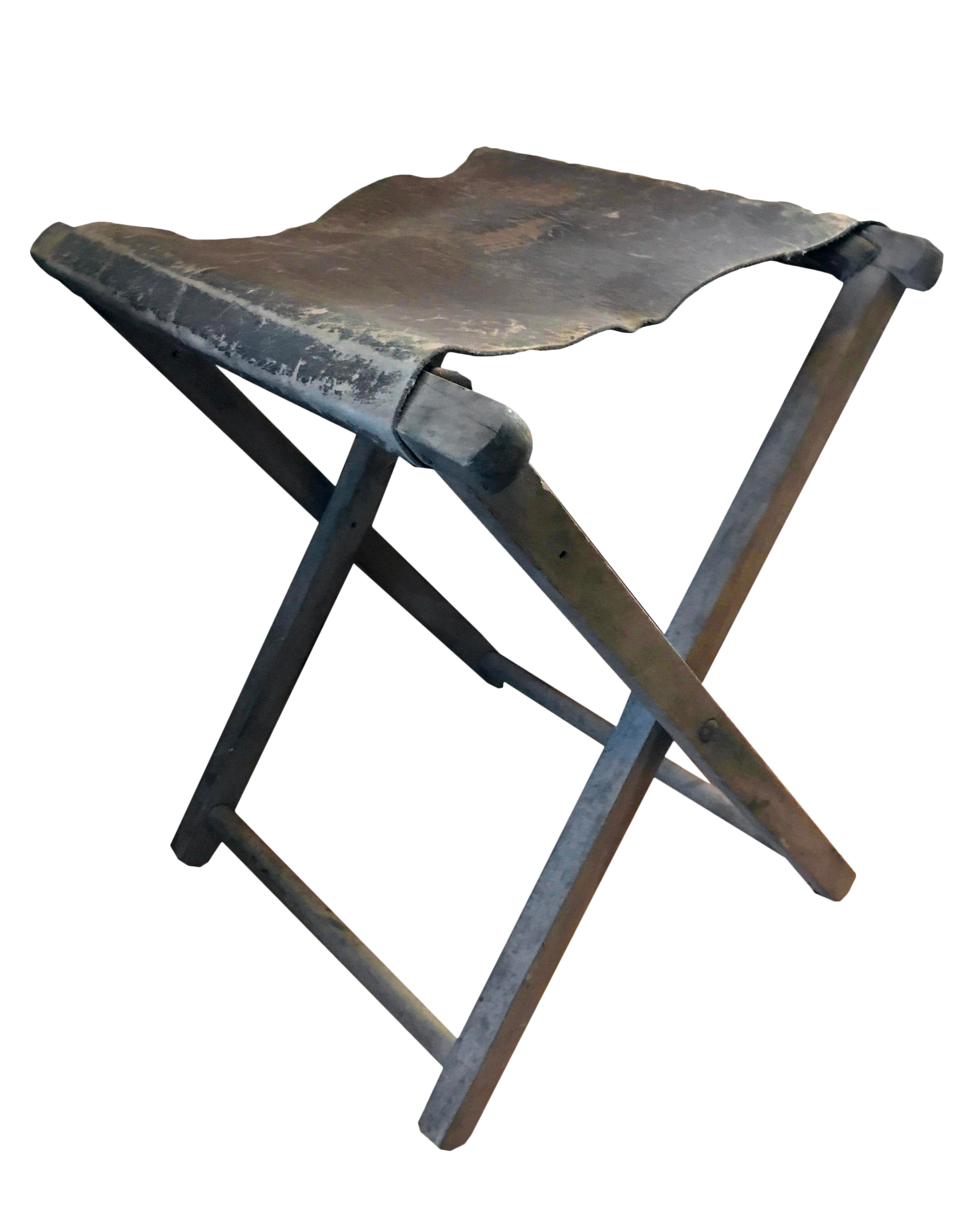 Swell 1900S Vintage Folding Wood Leather Camp Stool Bralicious Painted Fabric Chair Ideas Braliciousco